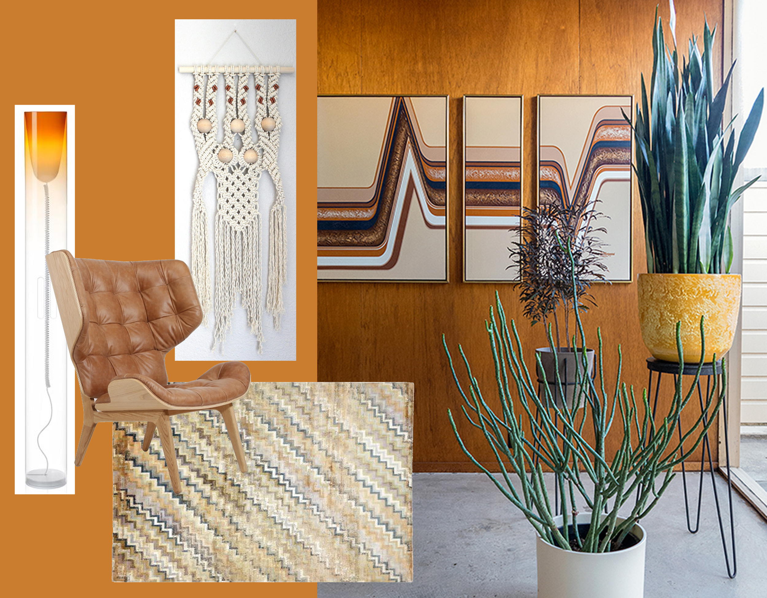 Toobe floor lamp  Kartell  - Mammoth chair  Norr 11  - Prism rug  ABC Home  - wallhanging macrame  Himoart  - vintage inspired home found on  Design Sponge