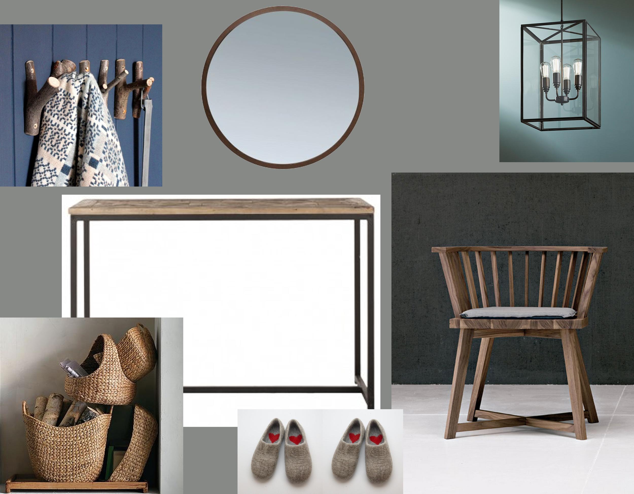 chair Gray 24  Gervasoni  - console Jules  Blanc d'Ivoire  - mirror Pelleas rond  Blanc d'Ivoire  - hanging lamp Ilford  Tekna  - Trook hooks  Rowen & Wren  - storage basket  West Elm  - felted clogs  Woolen Clogs