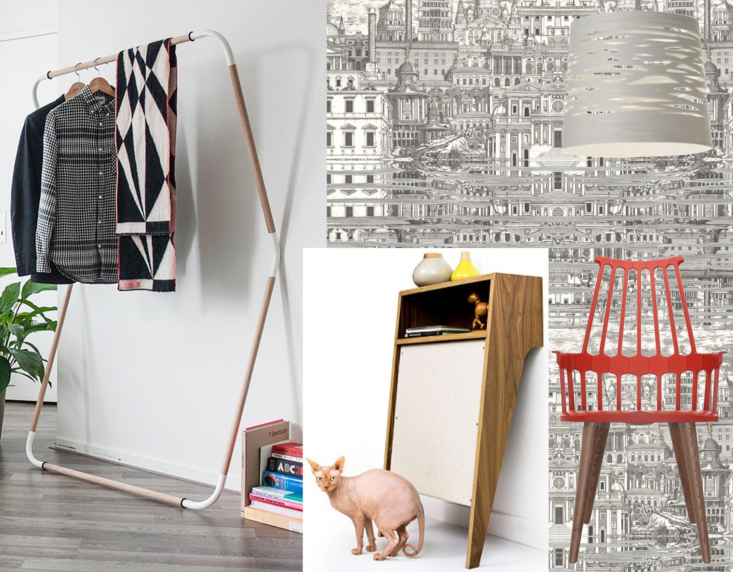 wallpaper Riflesso  Cole & Son  - chair Comback  Kartell  - hanging lamp Tress  Foscarini  - coatrack Jeroen Van Leur  Restored  - cat console  Modernist Cat
