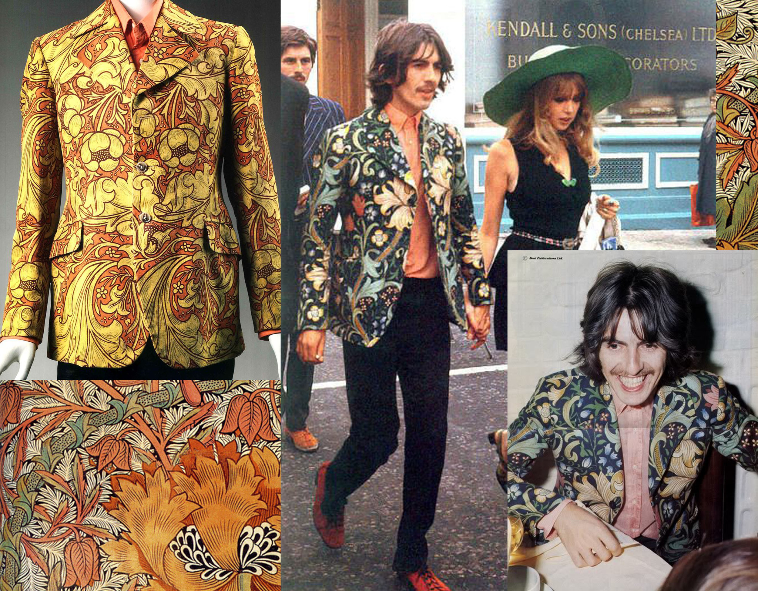 The fabrics got very popular and even used in fashion - Jacket of George Harrison in Morris & Co fabric