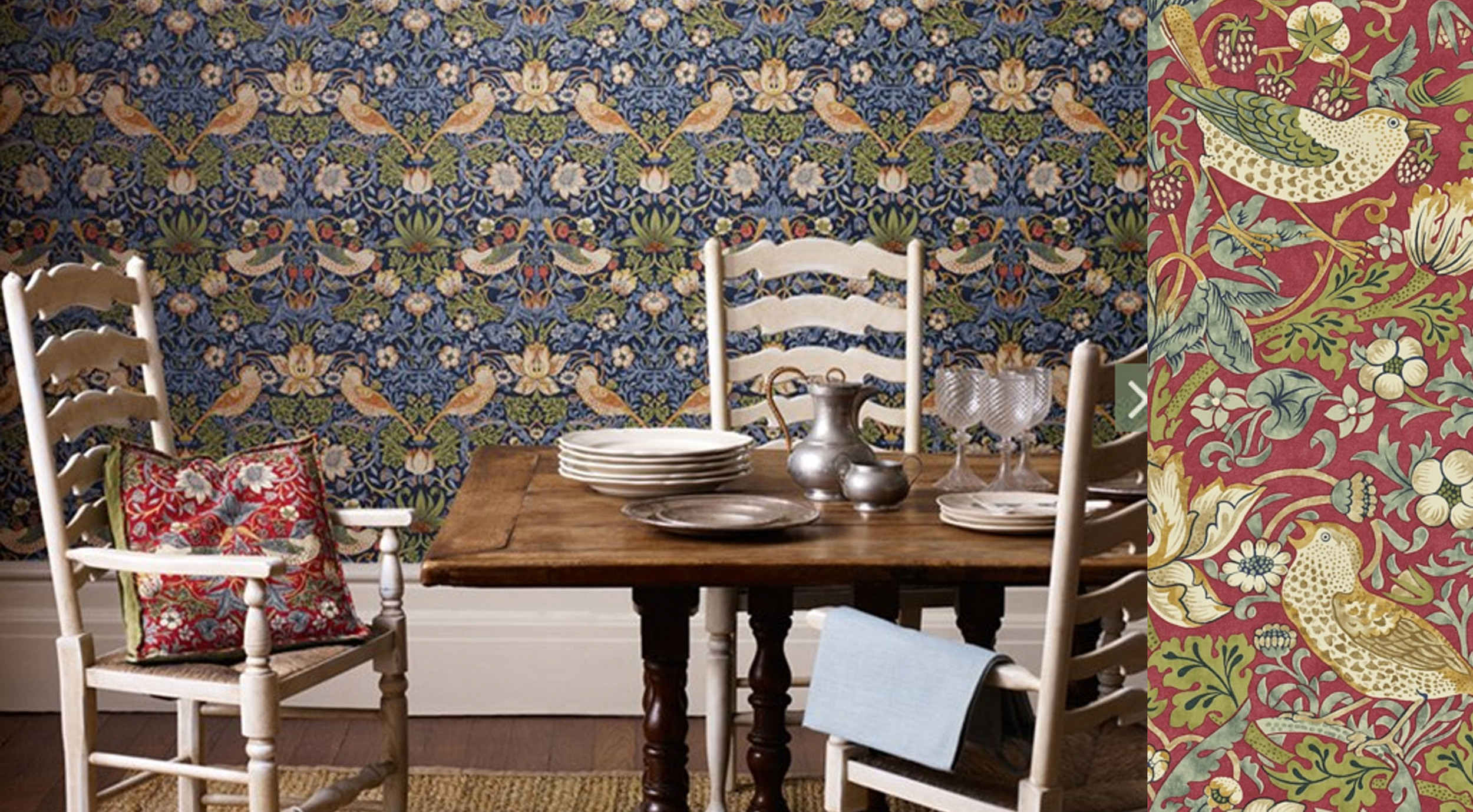 Strawberry Thief is one of the most popular designs,only recently available as wallpaper