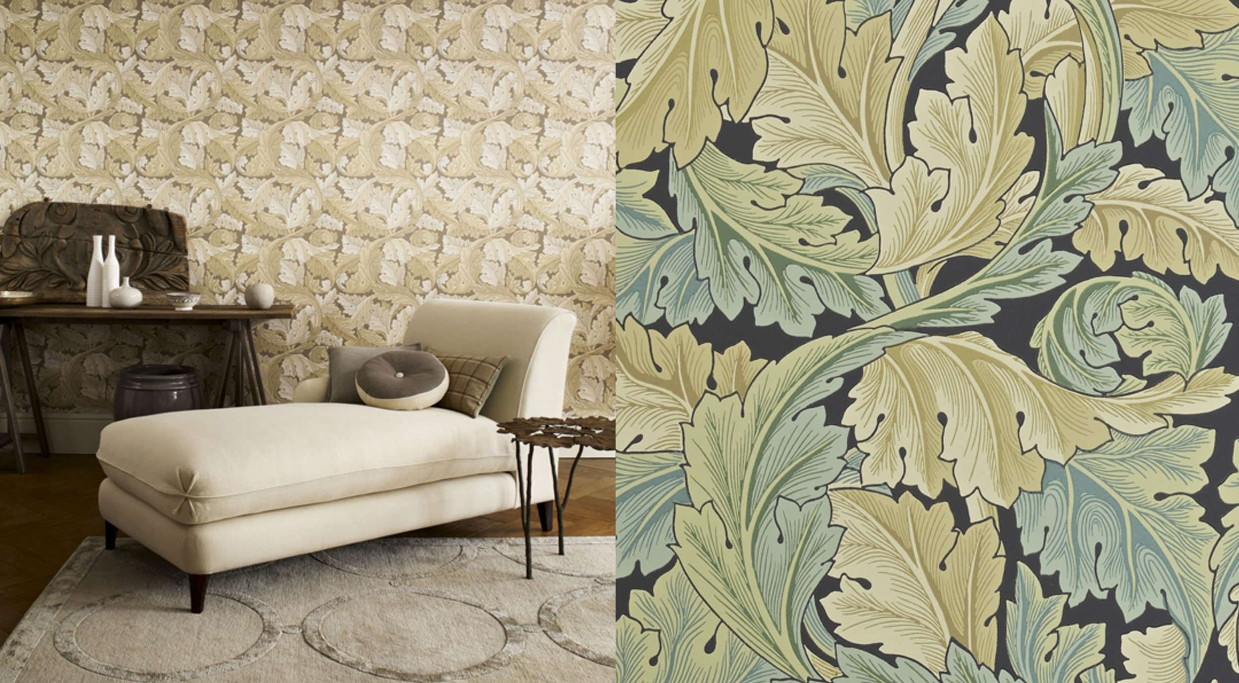 Acanthus designed in 1874 - a large scale design for wallpaper with a complex layering, produces a 3-dimensional effect