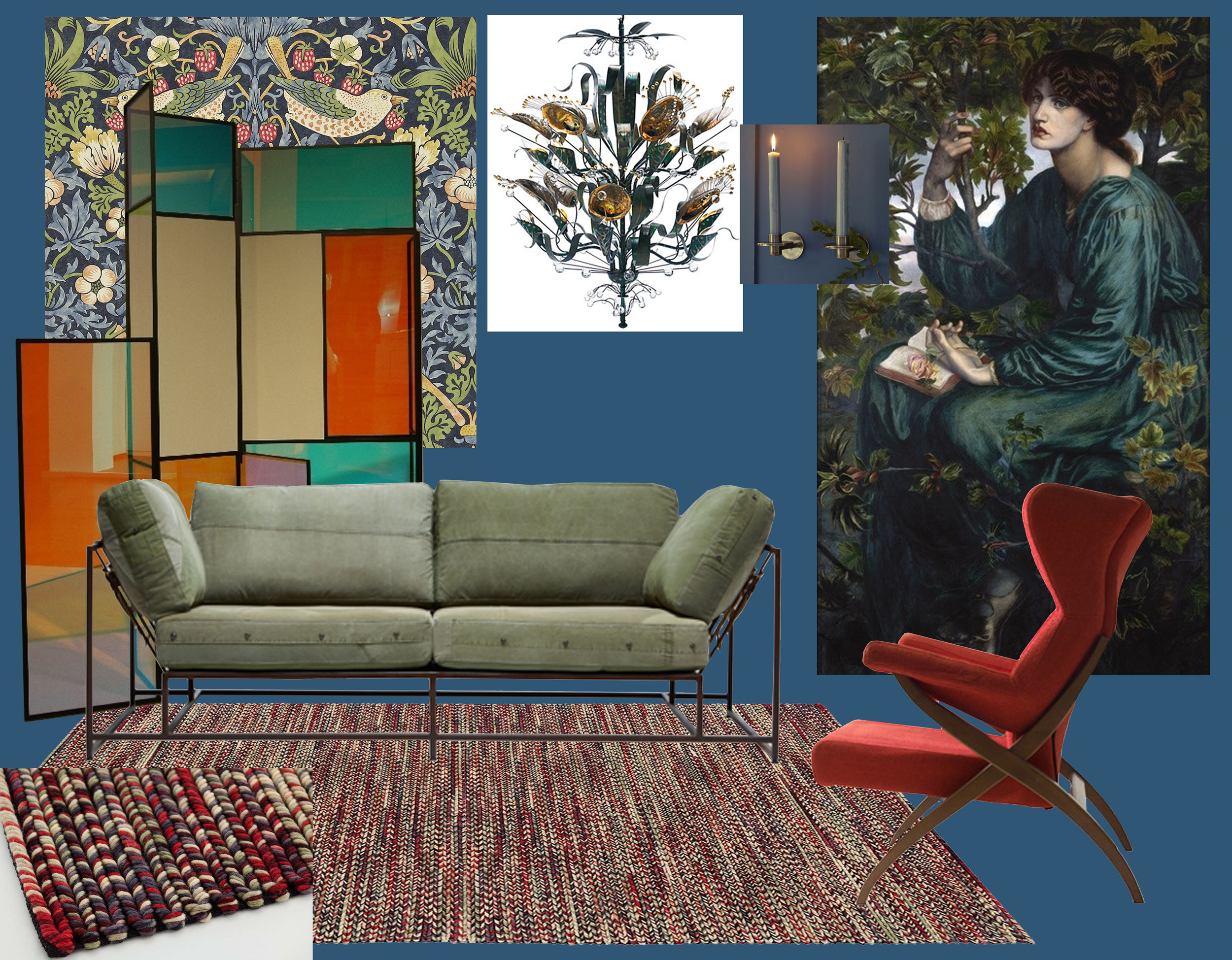 wallpaper Strawberry Thief  William Morris  - screendivider  Camilla Richter  - Military Canvas two seat sofa  Stephen Kenn  - armchair Fiorenza by Franco Albini  Nilufar  - painting of Dante Rossetti, printed in big size - Abalone chandelier by Tony Duquette  Baker  -  wall candle holder Leland  Rowen & Wren  - rug Varese  Gan-rugs