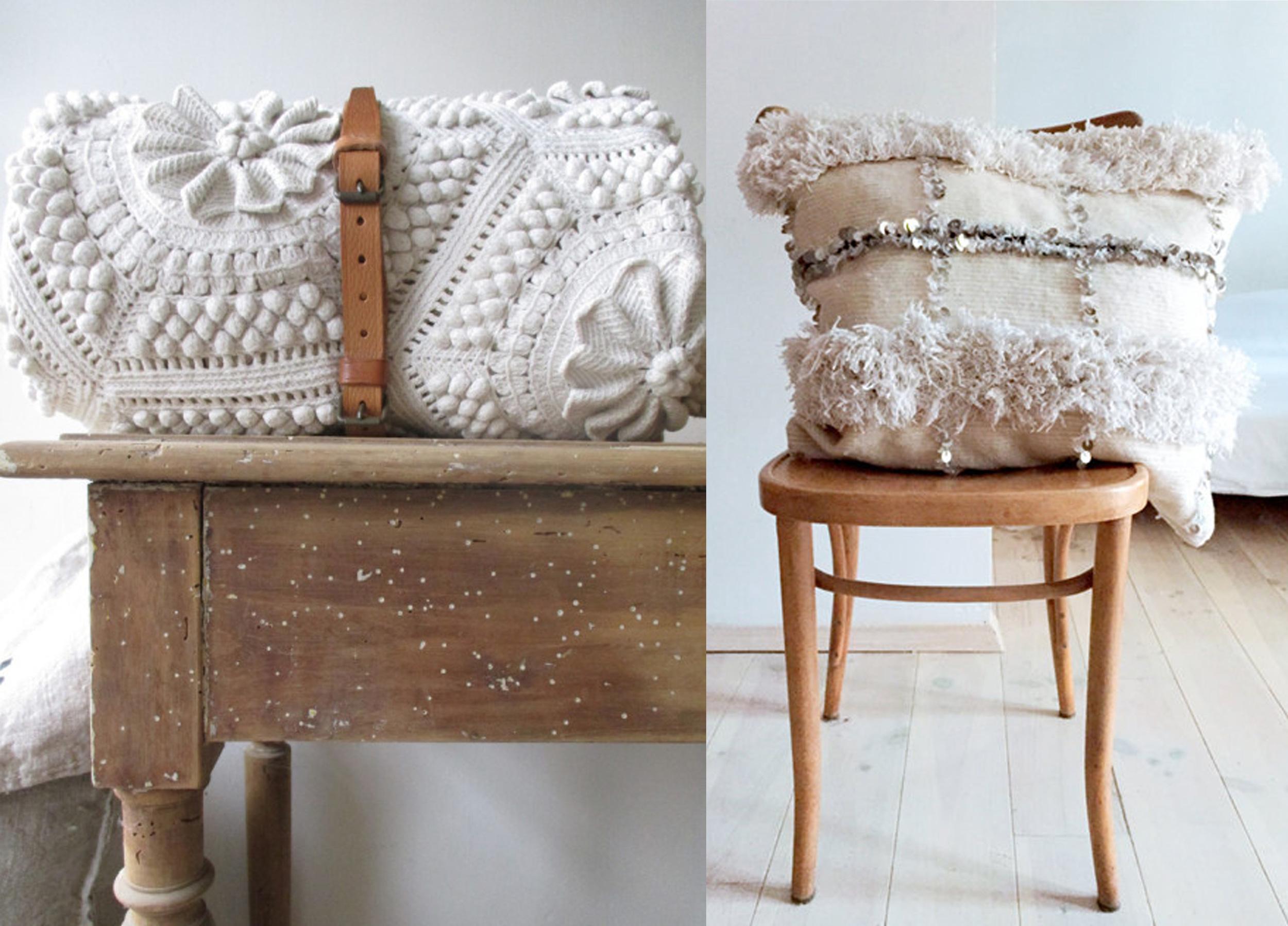 crochet blanket  Coastal Cottage  - vintage pillow  La Casa Decoto