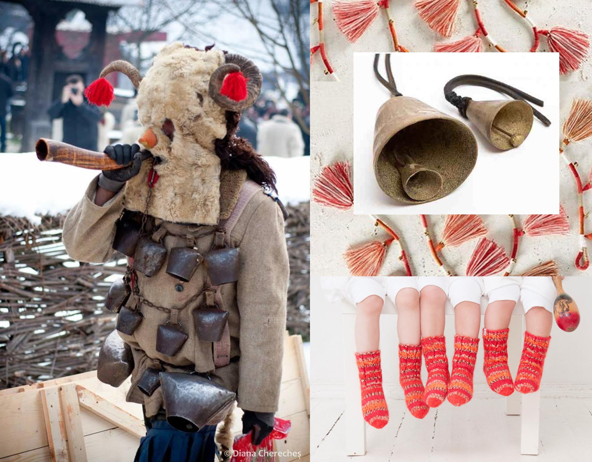 image Christmas in Maramures by Diana Chereches  Maramuresenii  - Bell & Tassel garland found on  Remodelista  - children socks  RU Creation  - bells  Mesteshukar