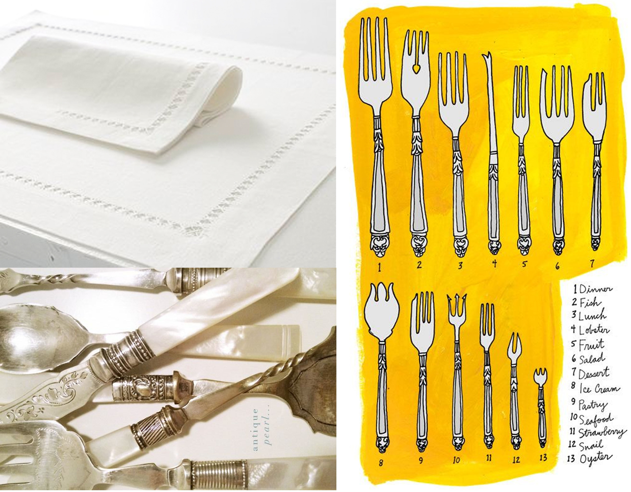 placemat and napkin  Decopur  - mother-of-pearl cutlery via  Pinterest  - drawing  Julia Rothman
