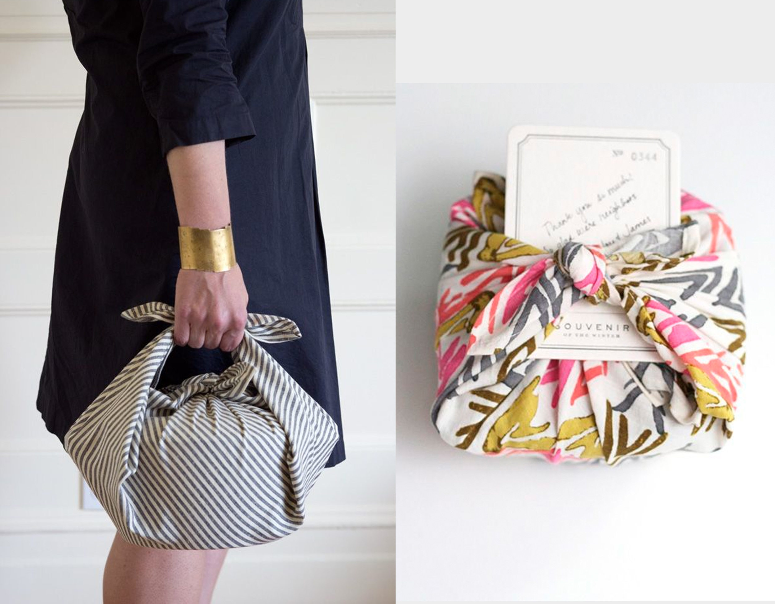 wrap your gift in a towel found on  101 Cookbooks  - Japanese fabric wrapping via  Frock Files