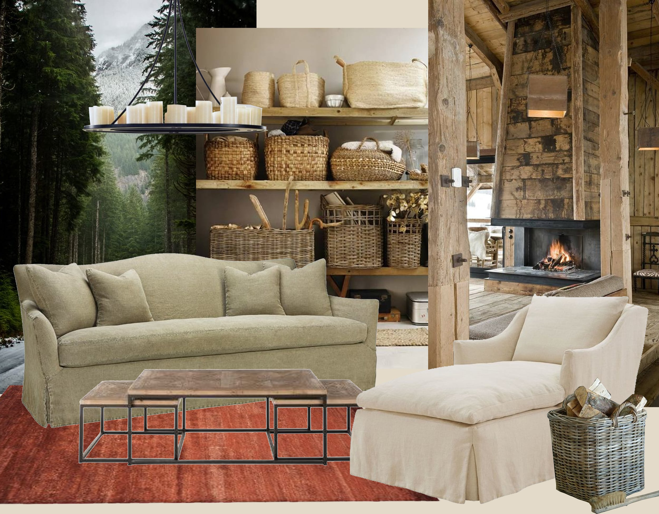 image woods via  Poler  - image wooden baskets  Rough Luxe  - open fireplace via  Pinterest  - sofa and armchair  Marie's Corner  - coffee table  Blanc d'Ivoire  - basket  Garden Trading  - hanging lamp  Kevin Reilly