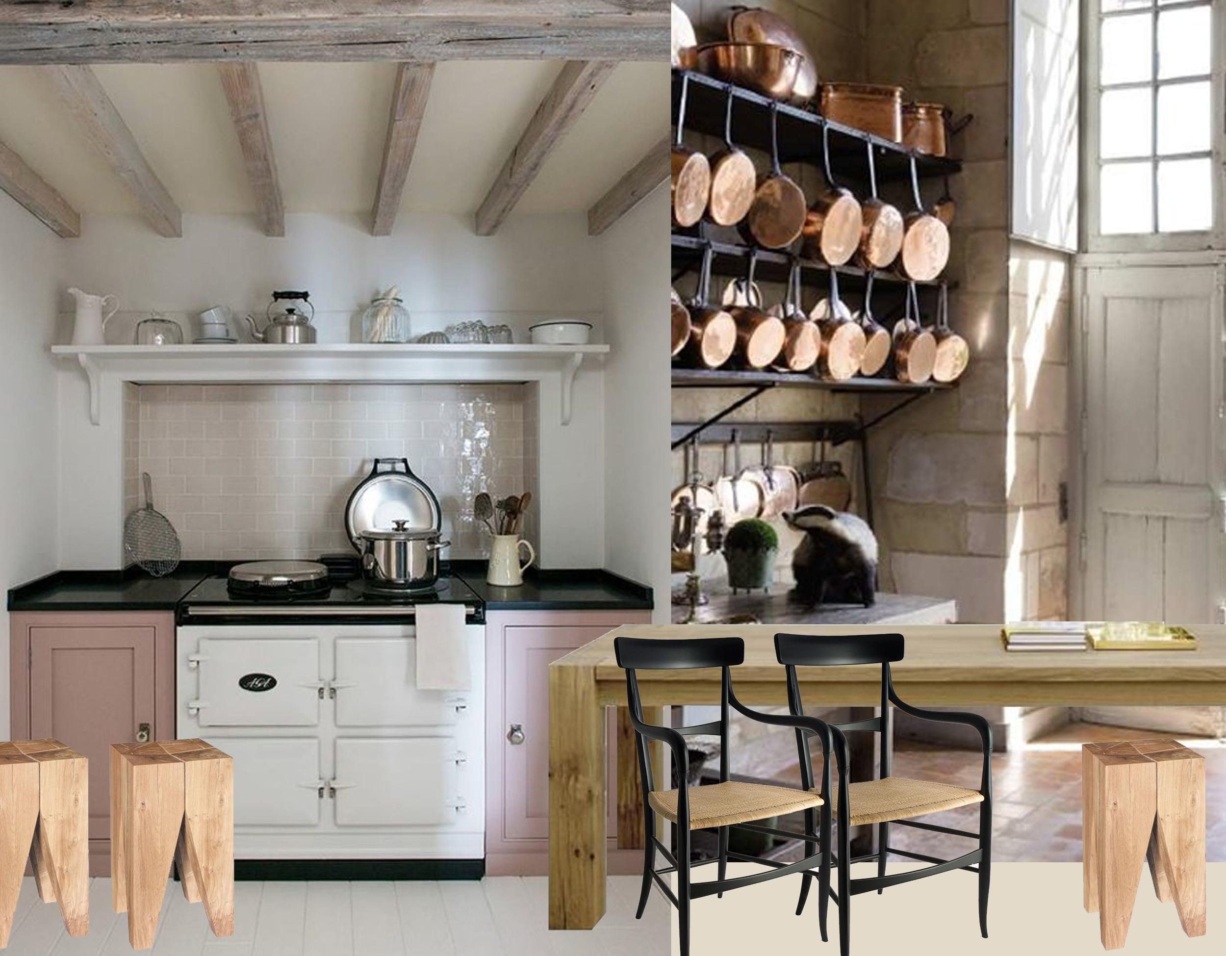 Aga stove image via  Middleton  - Backenzahn stool  E15  - table Bigfoot  E15 - Poltrona 900  Segno Italiano - image copper pots via Pinterest