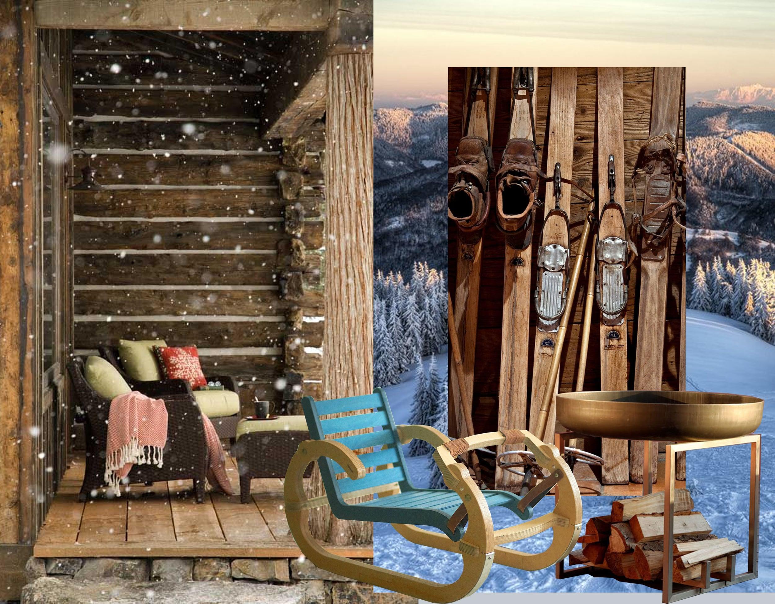 image cabine via  Pinterest  - image skies  Jerome Mondiere  - Playwood Sleigh  Mihai Stamati  - Steel Fire Pit  Arpe Studio
