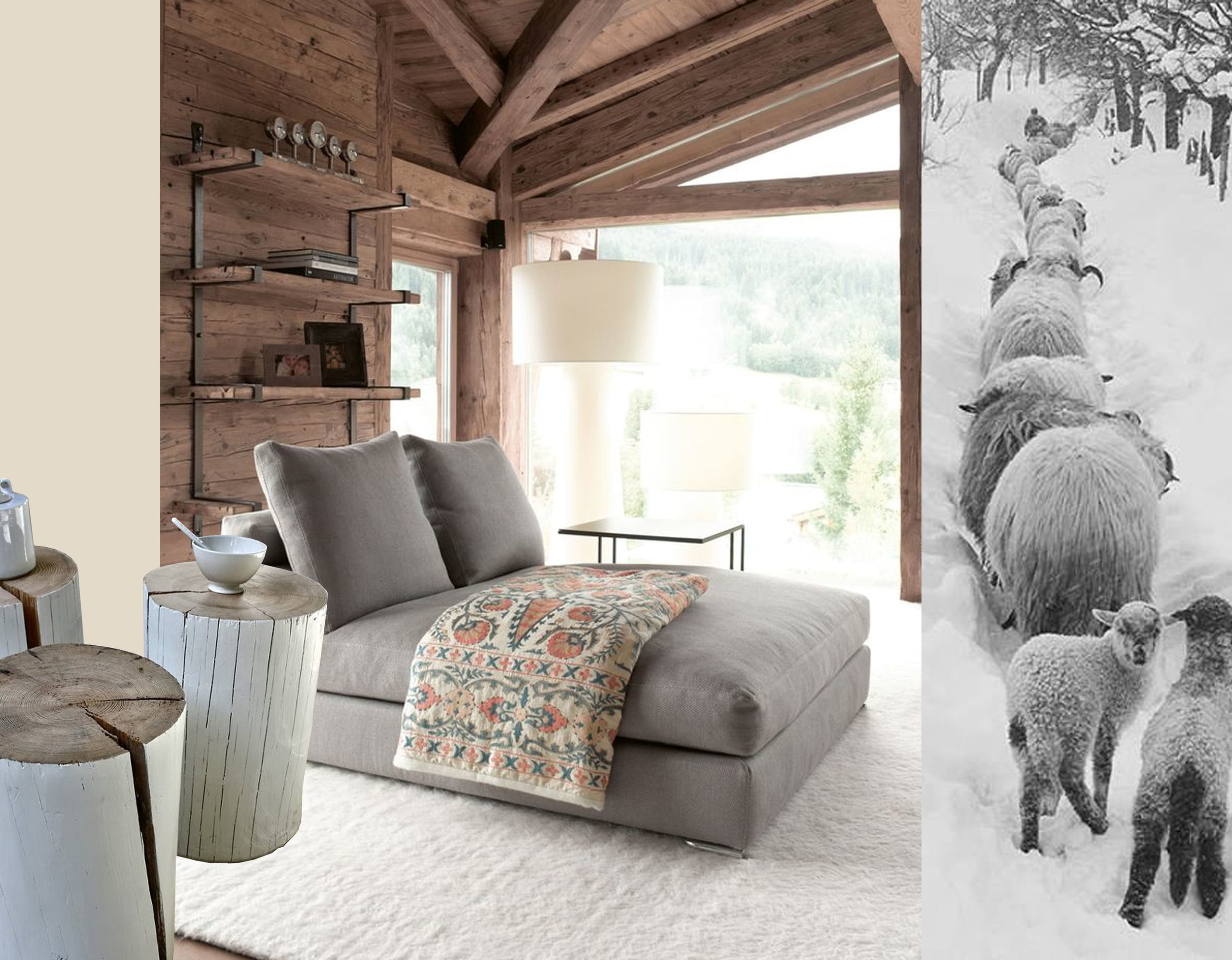 image with daybed via  Busyboo  - trunks via  Pinterest  - sheeps via  Pinterest