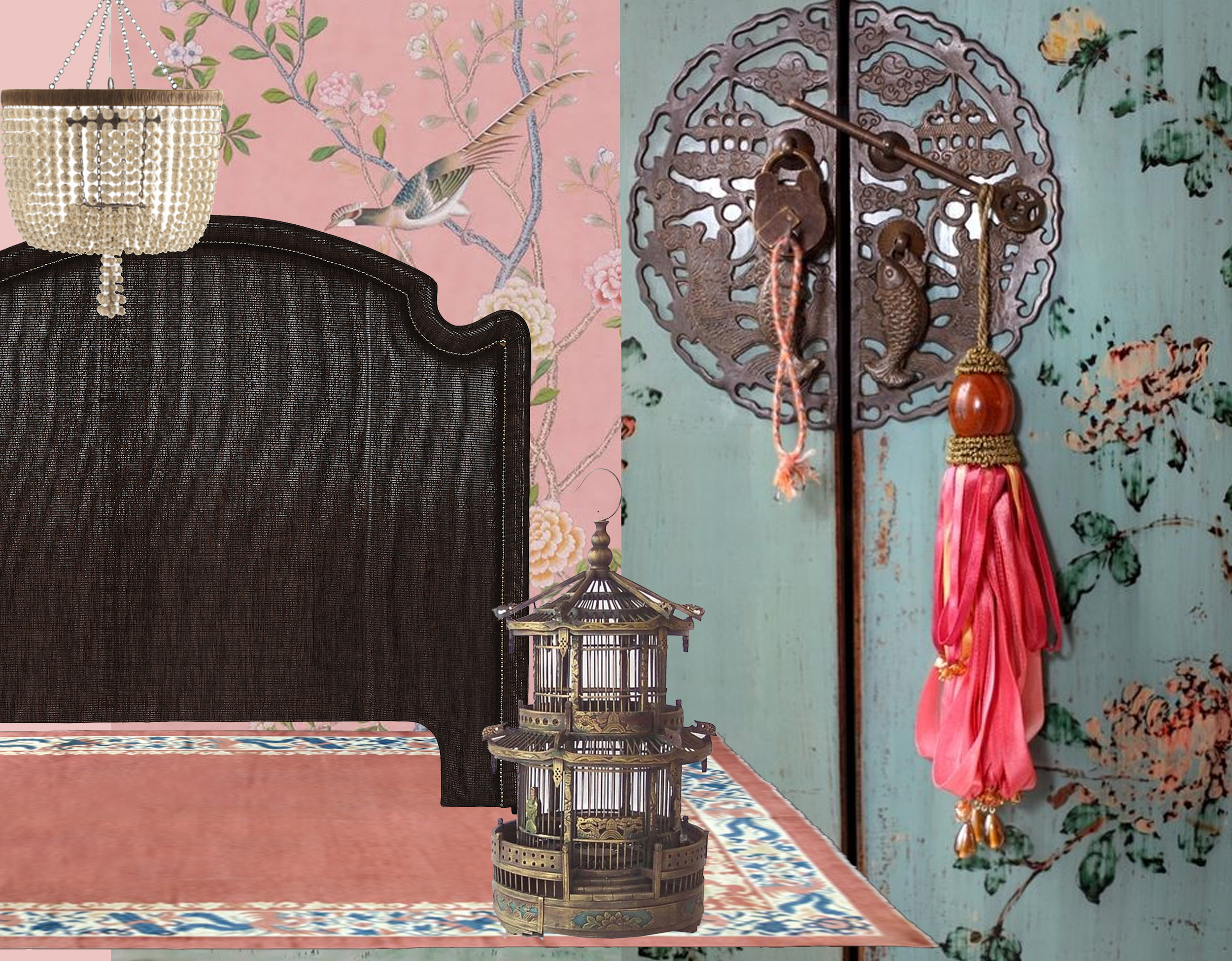 handpainted wallpaper Chinoiserie  De Gournay  - headboard  Mis en Demeure  - Viola chandelier  Arteriors  - rug  Nilufar  - bamboo bird cage on  Pinterest  - detail Chinese painted cabinet  Lady-Gray-Dreams