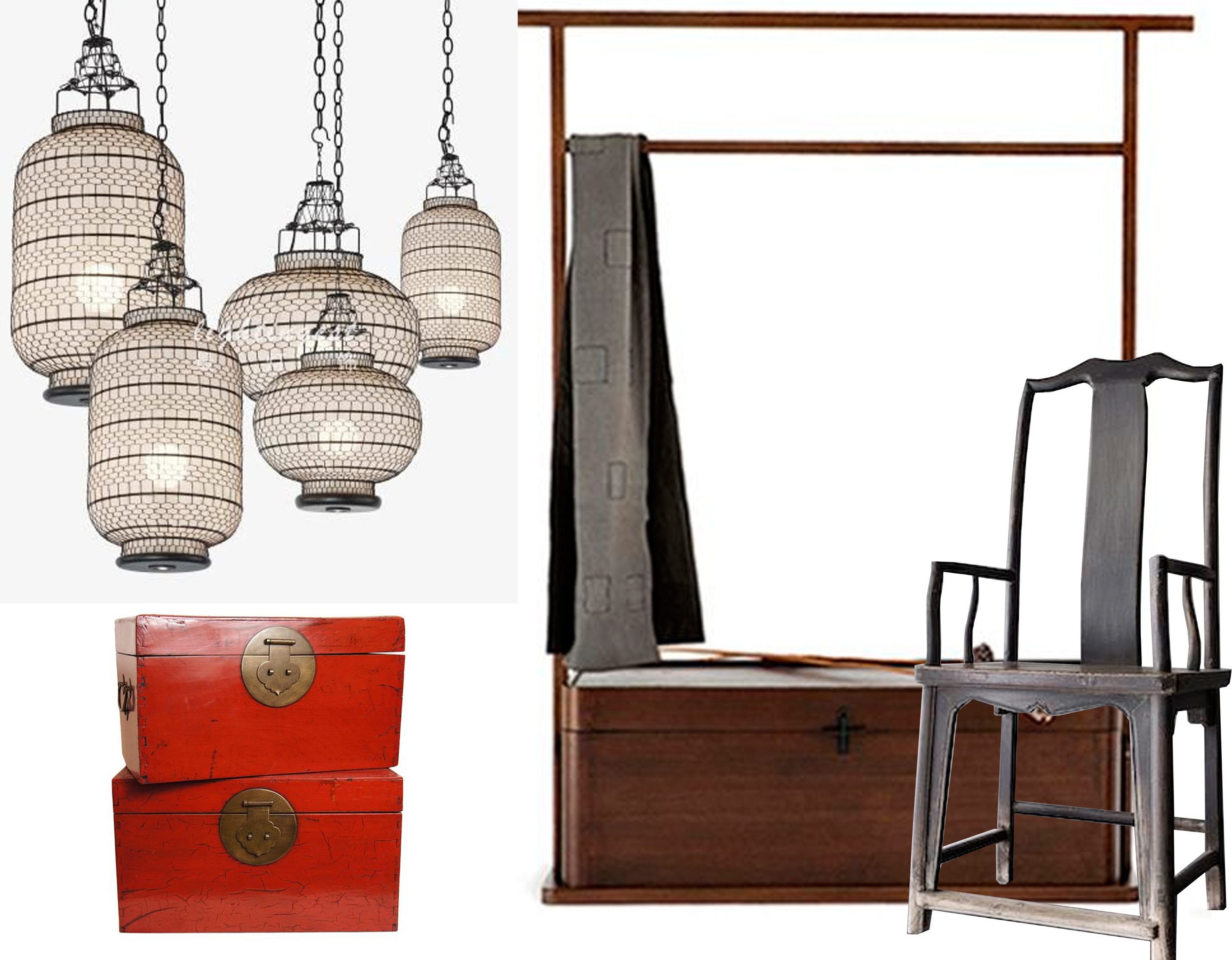 lanterns  Lightingest  -  Chinese document boxes  1stdibs  - cloath stand U+Furniture  Collectiv Red  -  old oak chair on  Oliver Gustav