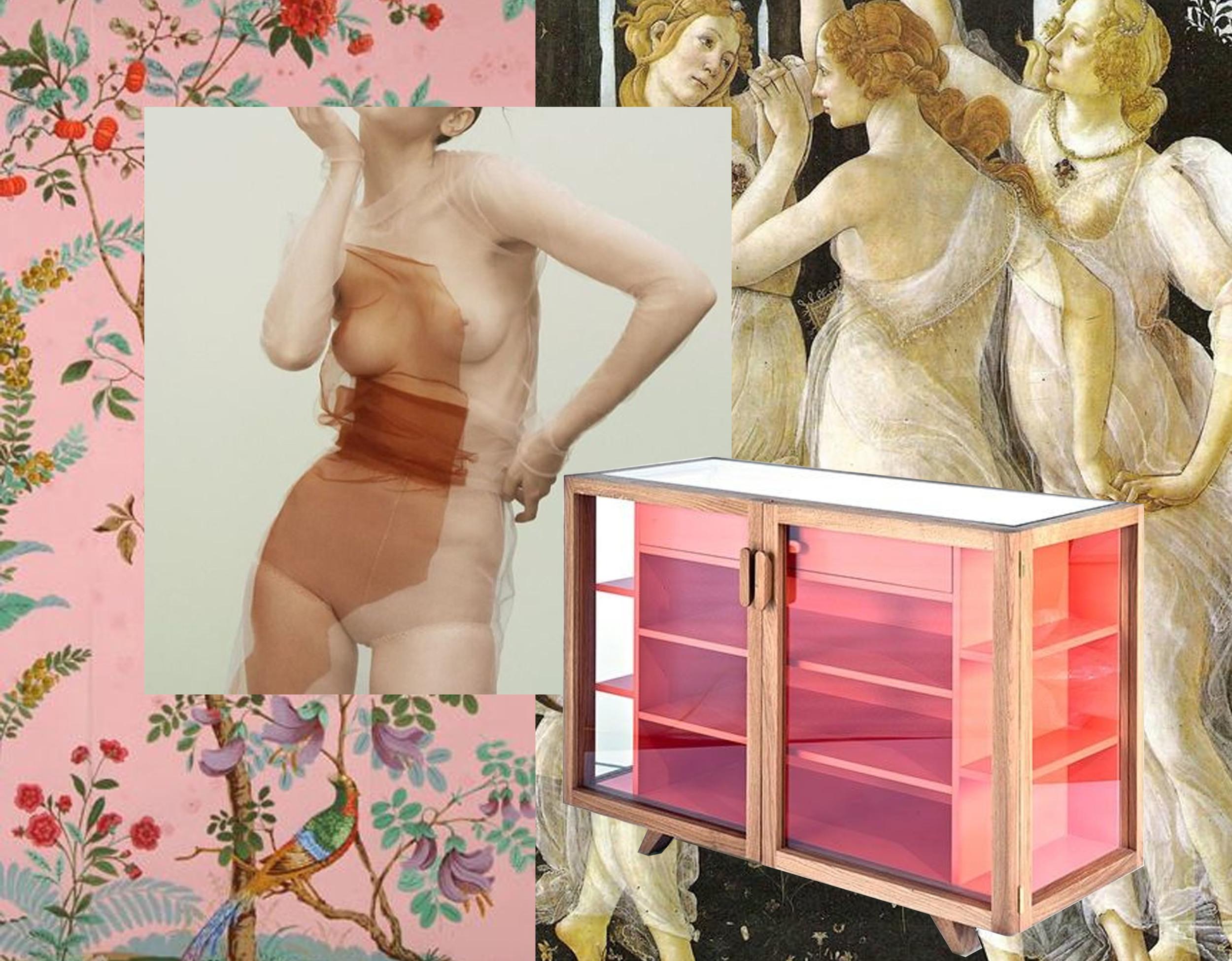 wallpaper  Zuber  - picture  Julia Noni  for  German Vogue - Vitrina sideboard by Hierve for  Casa Furniture - Primavera  Botticelli