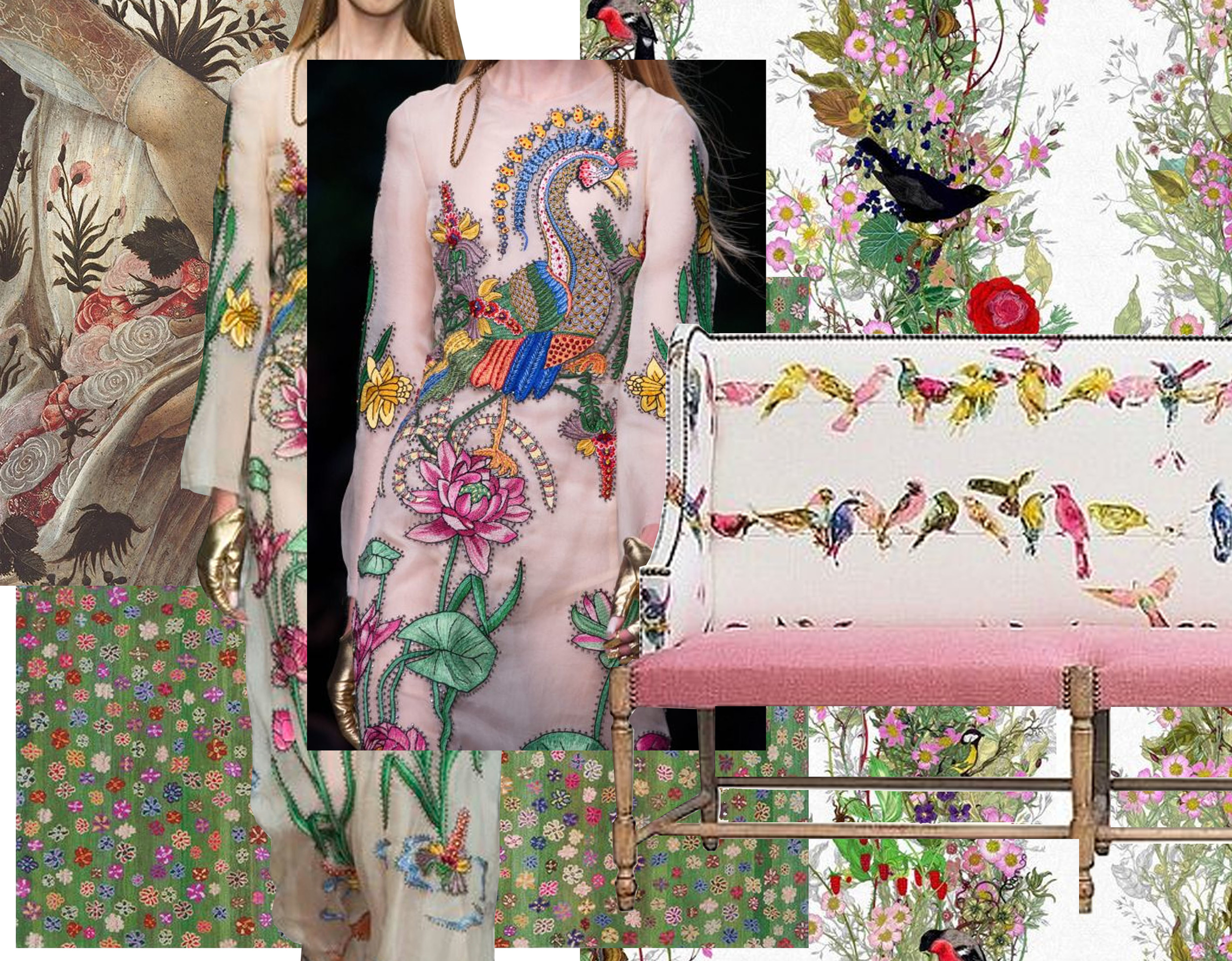 detail painting Primavera  Botticelli  -  Gucci  summer 2016 - rug Little Flowers  Jan Kath  - wallpaper Fruit Looters  Timorous Beasties  - banquette  Moissonnier