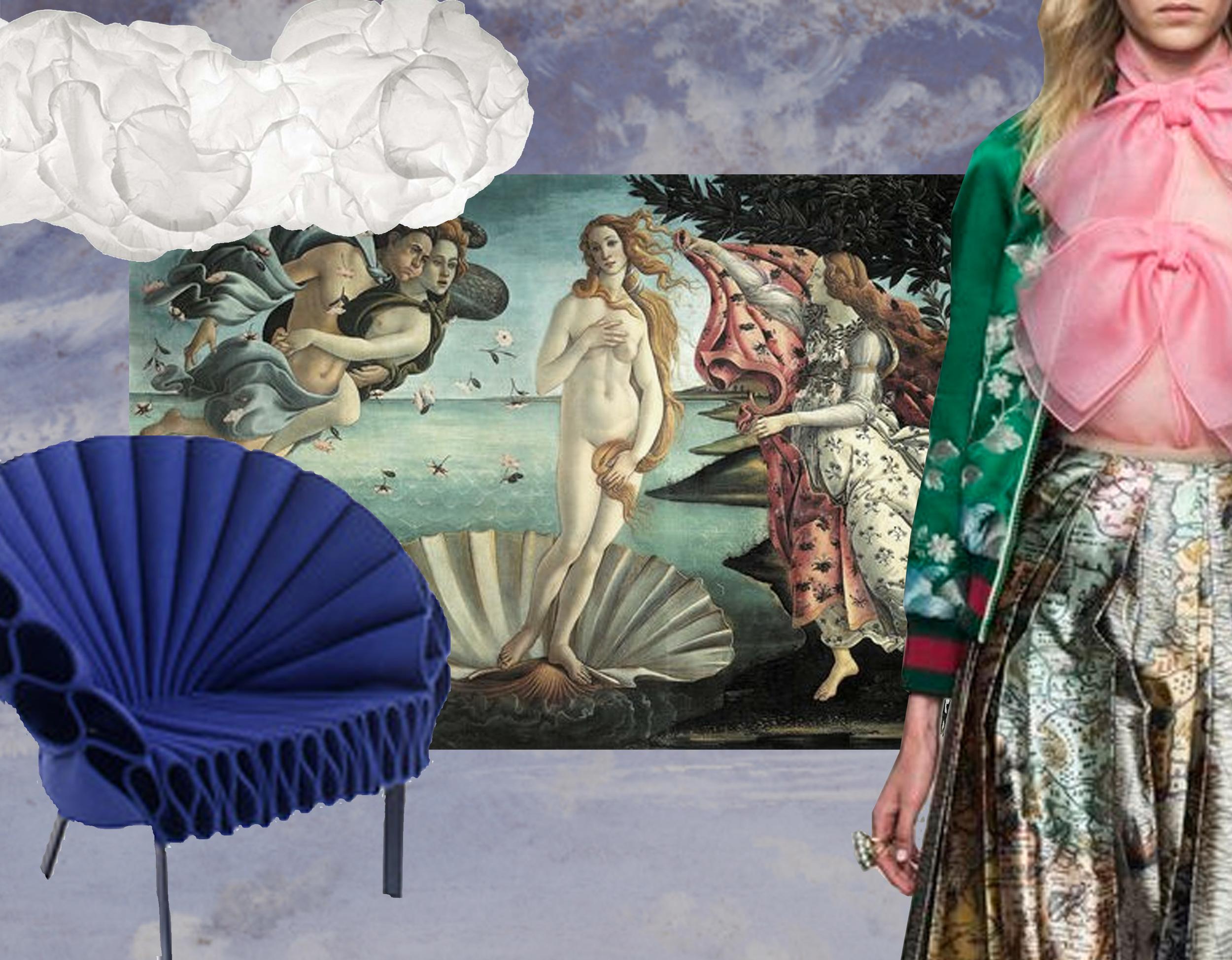 Cloud mural - hanging lamp Mamacloud  Belux  - Birth of Venus  Botticcelli  -  Gucci  summer 2015 - Peacock chair  Cappellini