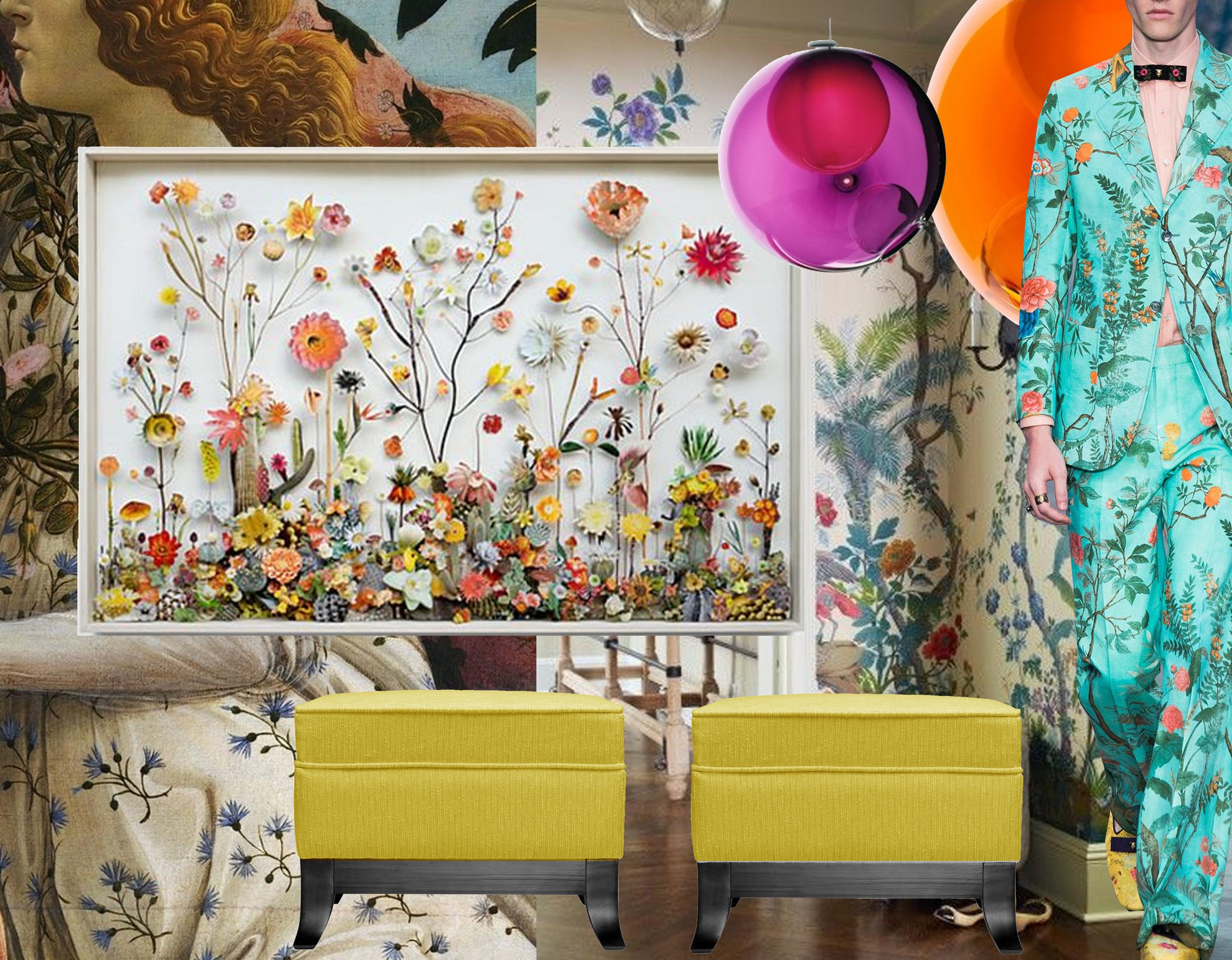 detail Primavera  Botticelli  - Flower Construction  Ann Ten Donkelaar  - wallpaper found on  Daily Dream Decor  - coloured lamps  Bocci  -  Gucci  summer 2016 - pouf Judd  Marie's Corner