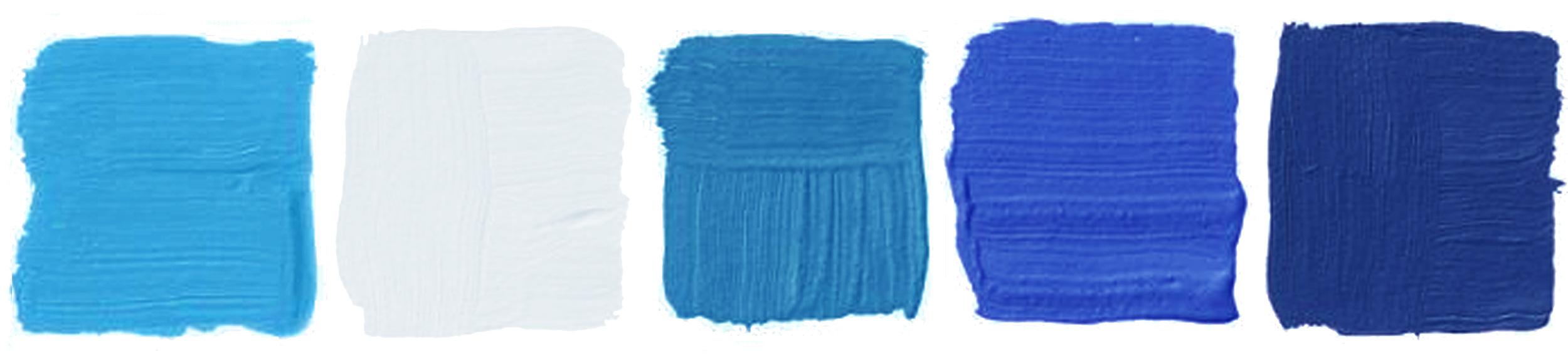 Benjamin Moore  Lake Tahoe  -  Simply White -  Laguna Blue  -  Delphinium  -  Admiral Blue