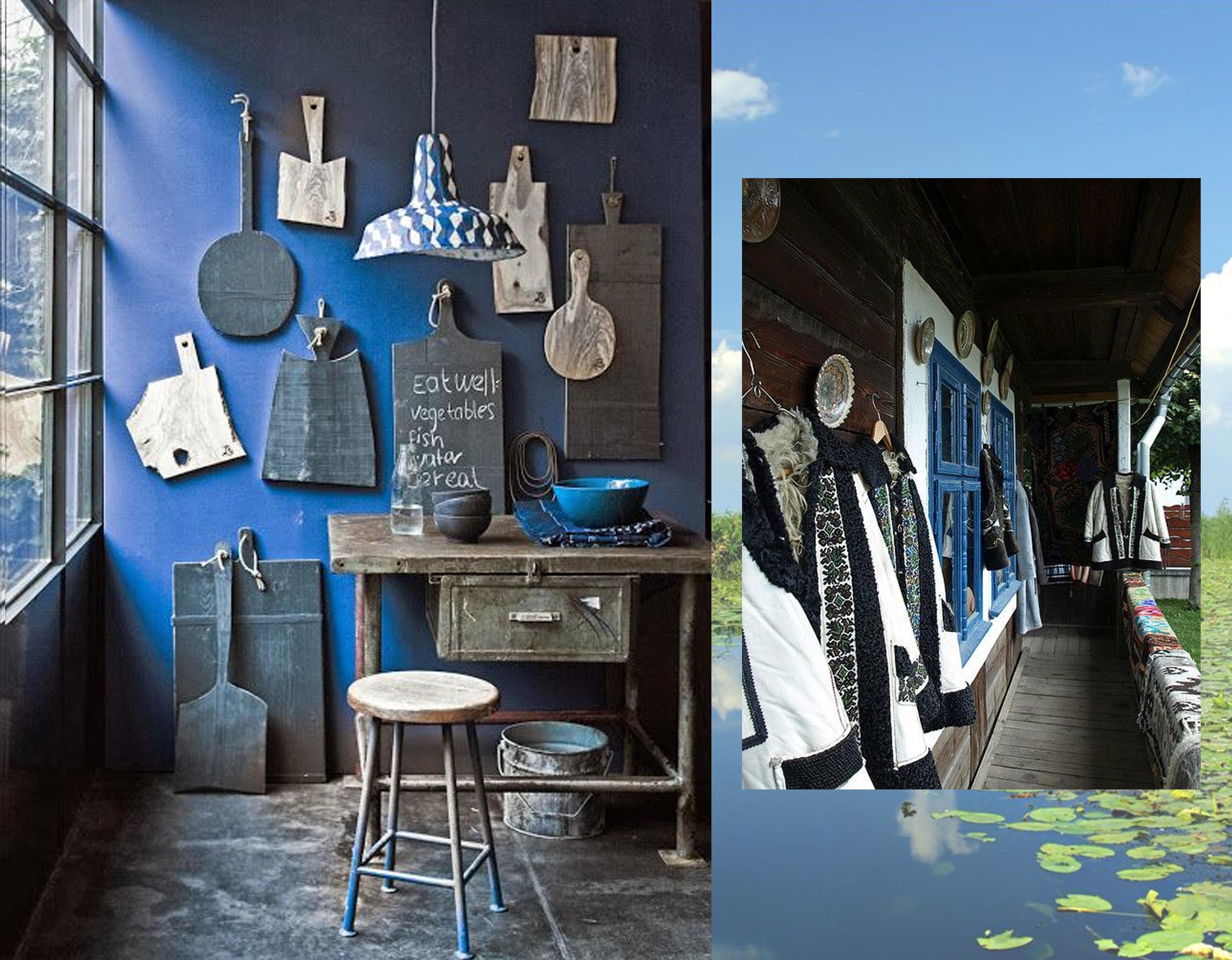 Blue interior found on  Pinterest  - image Danube Delta on  Delicioasa  - house in Bucovina found on  Pinterest