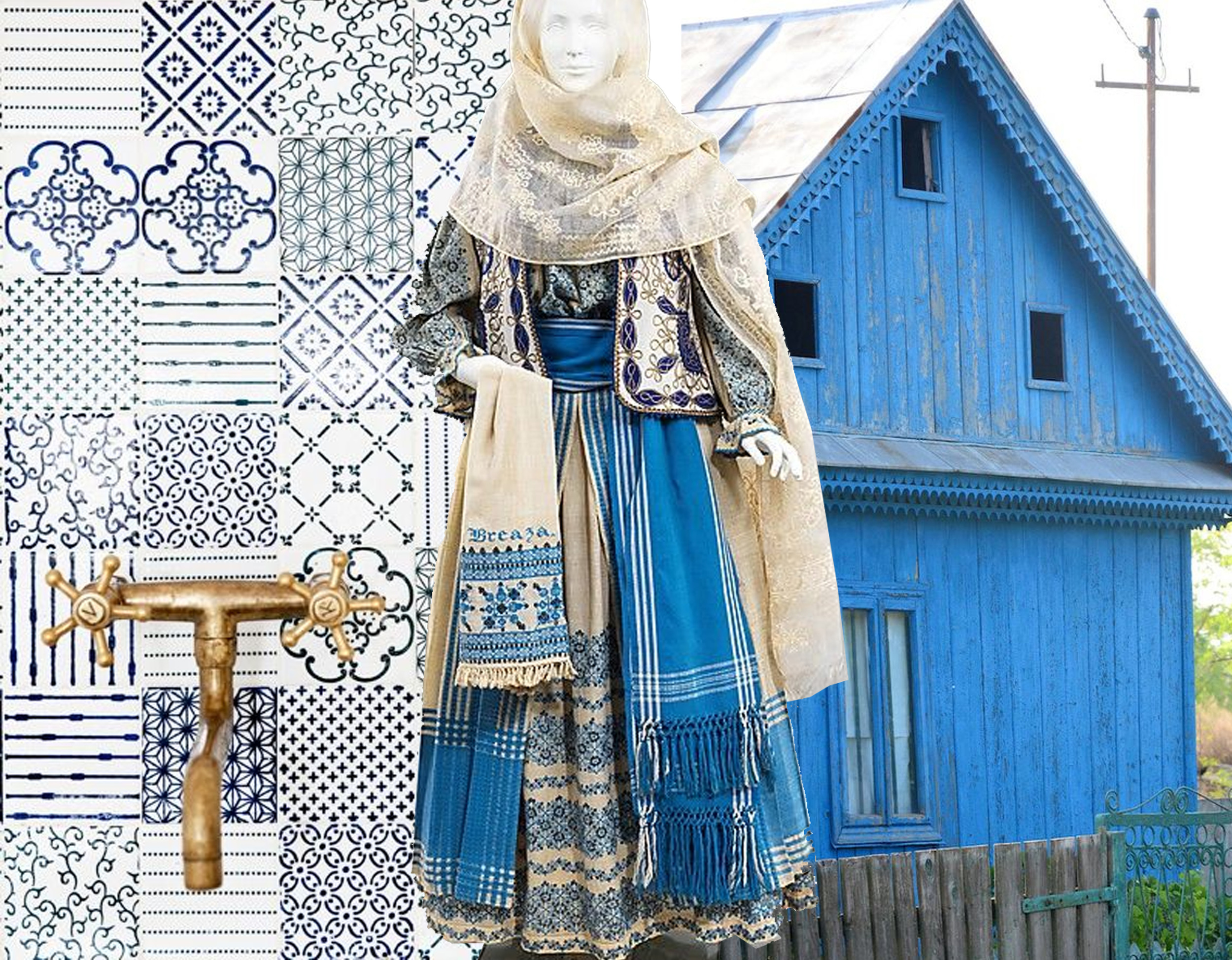 mix of tiles  Made a Mano  - Romanan costume 19th century  The Met  - house in Danube Delta found on  Delicioasa