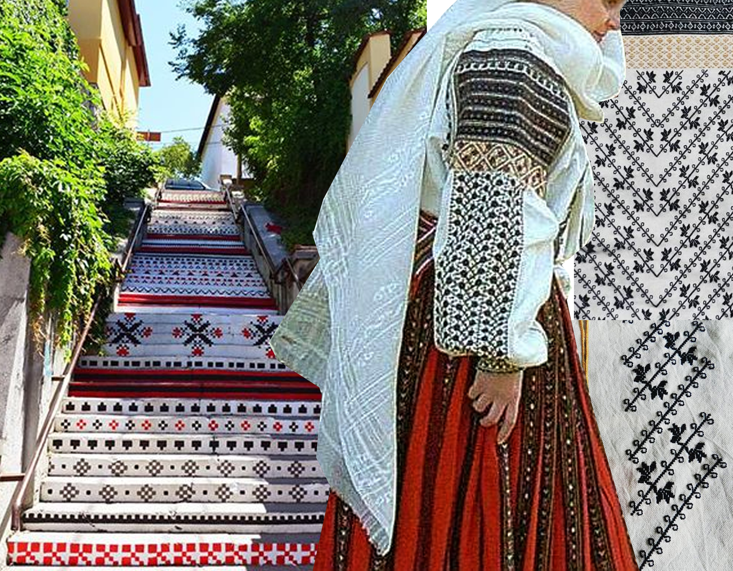 stairs in Targu Mures - woman in traditional costume from Oltenia  Christine Brown  - embroideries  Semne Cusute