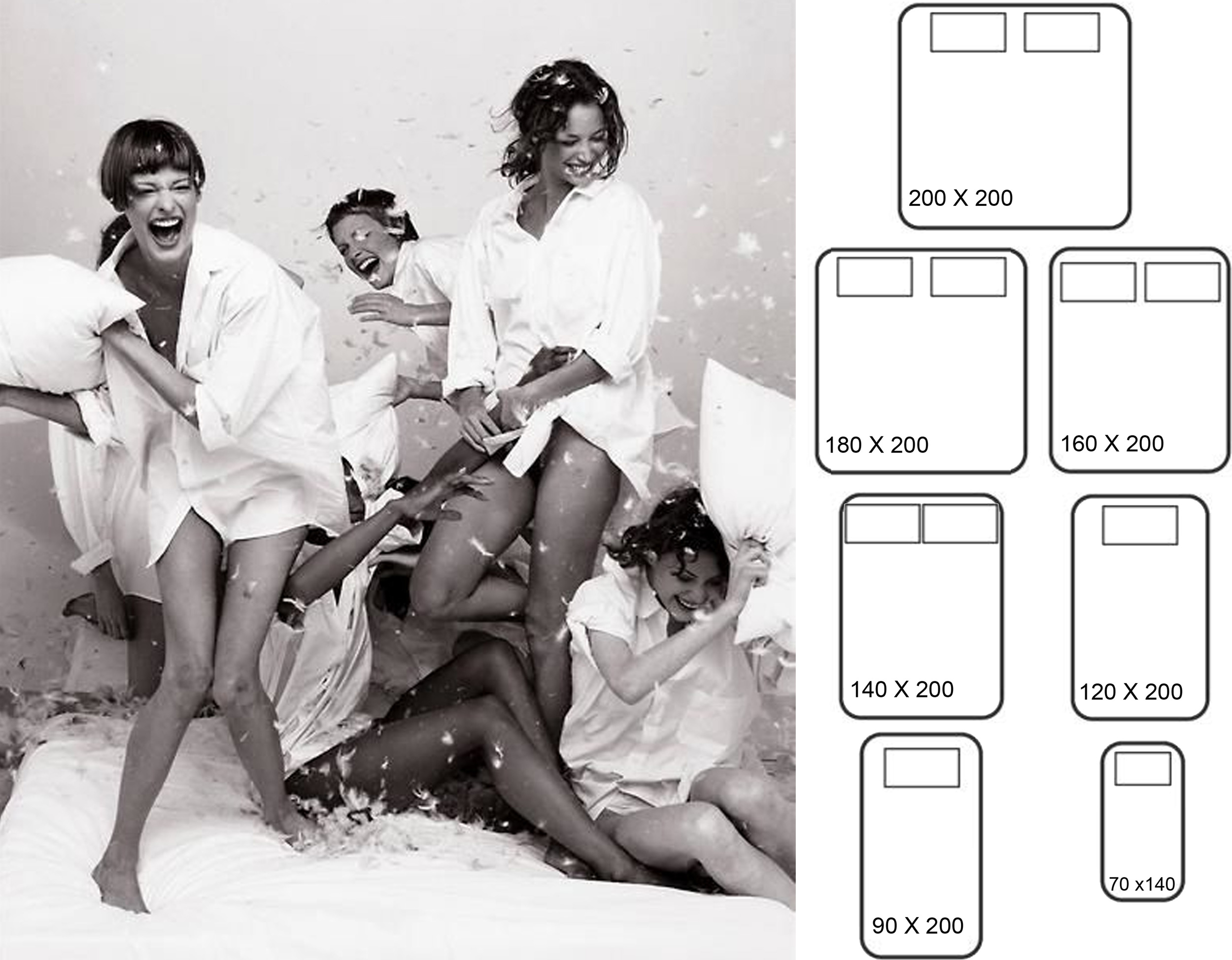 Pyjama Party  Peter Lindbergh - bed sizes