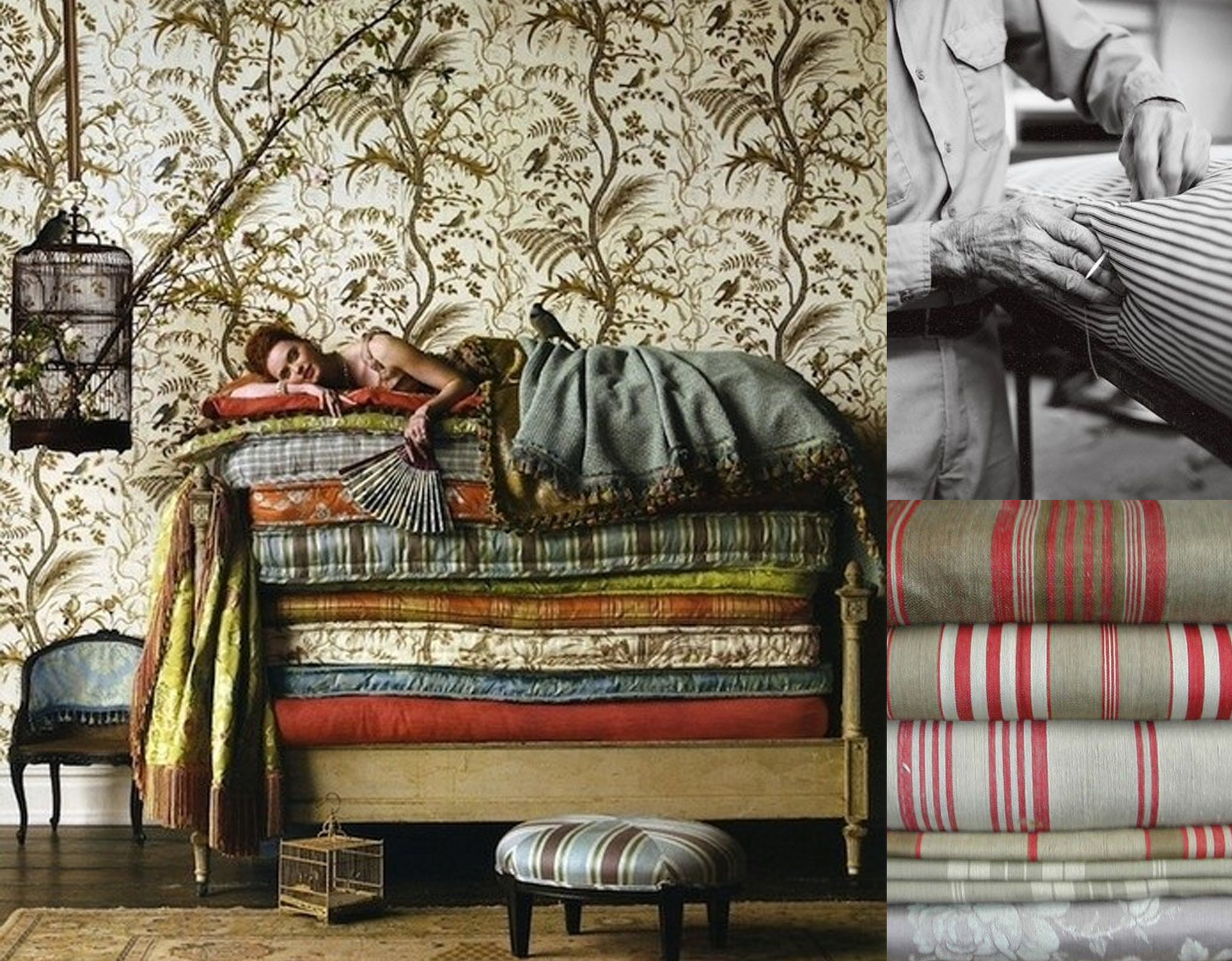 Brunschwig  - Once upon a Mattress - thicking fabrics found on  La Pouyette