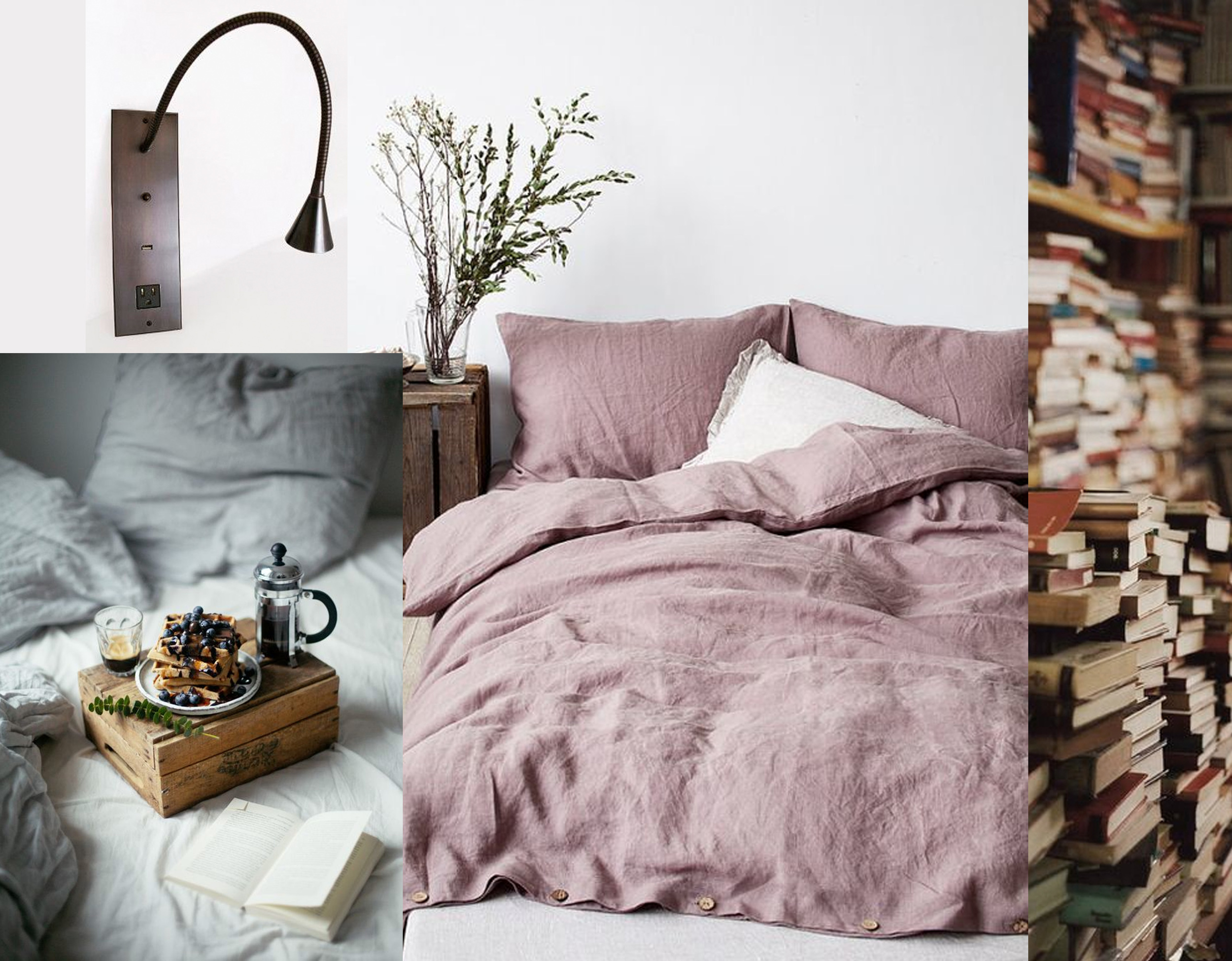 reading lamp  Meljac  - breakfast in bed via  Endless 8 Inspiration  - stone washed bedlinen  Linen Tales