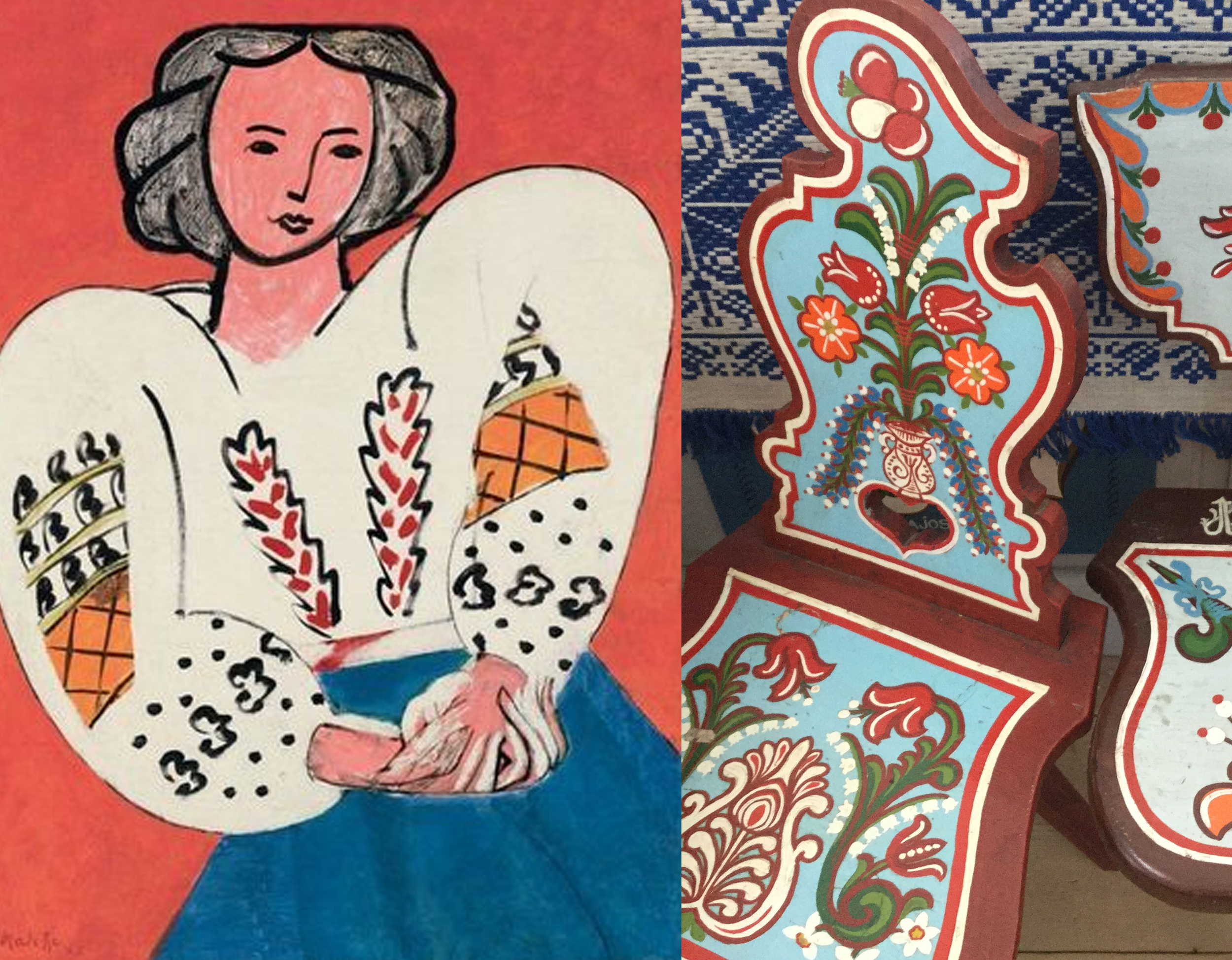 Matisse The Romanian Blouse - painted chairs from Covasna area