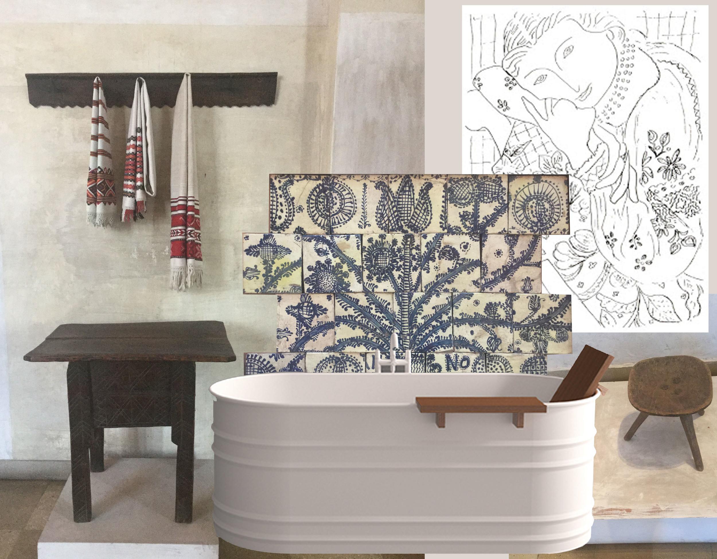 image towel rack - tiles Peasant Museum Bucharest - drawing Matisse - bathtub Vieques  Agape