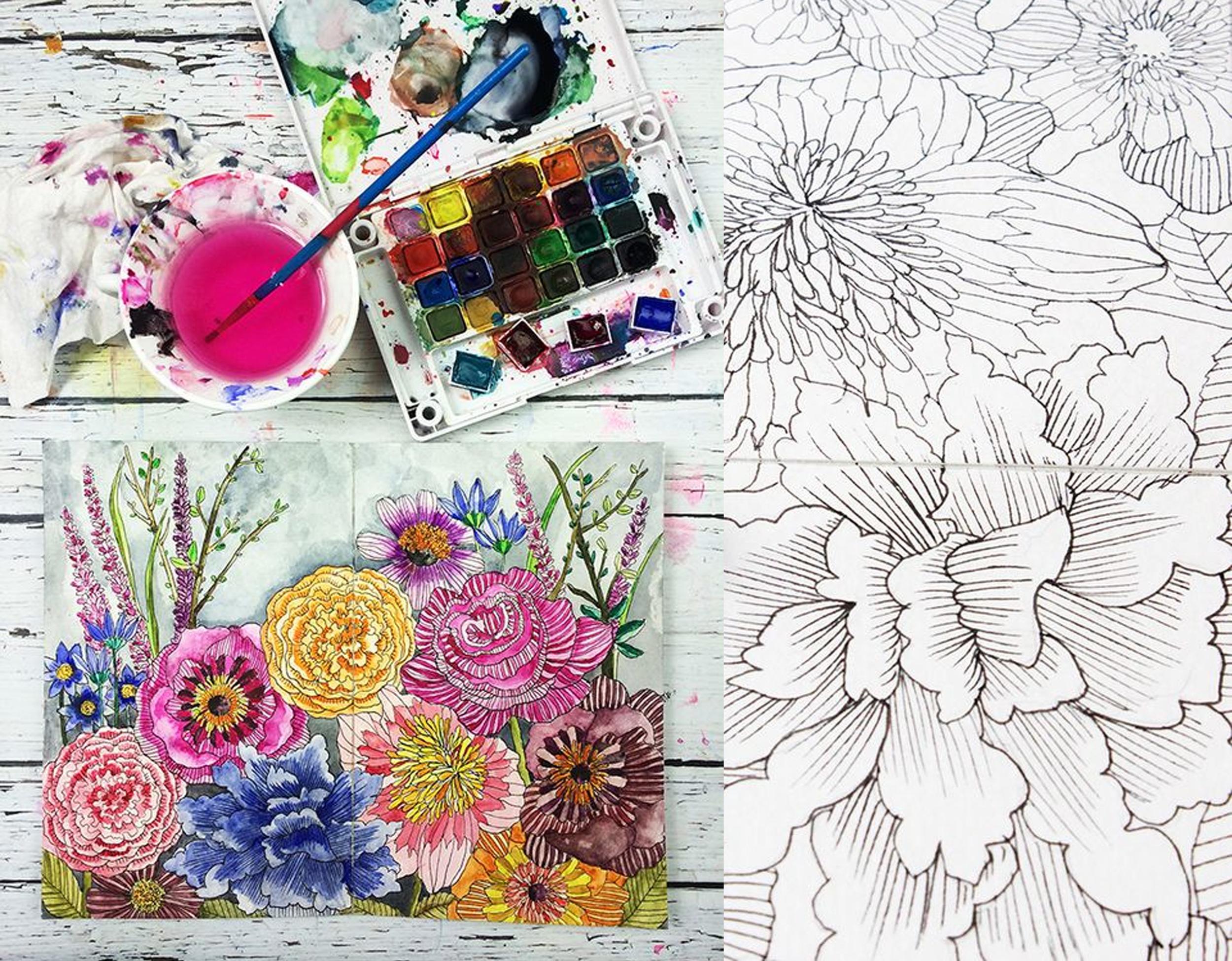 Flower Power on-line class by  Alisa Burke