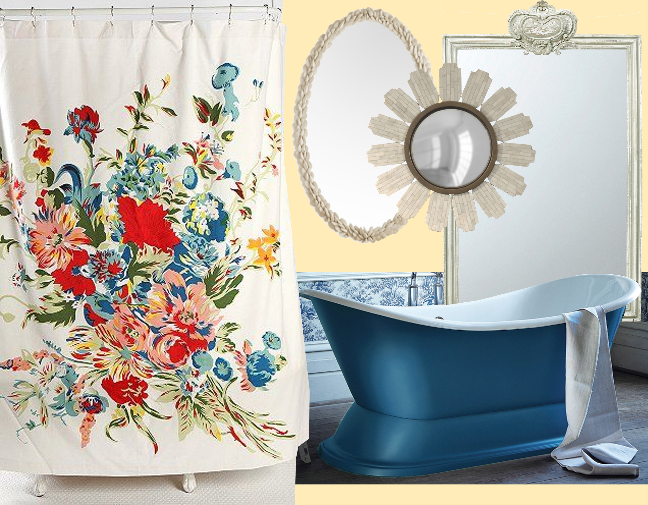 Floral scarf shower curtain  Urban Outfitters - bathtub  Albion  - Mussel-shell mirror  Porta Romana  - Lara mirror  Julian Chichester  - Sevres mirror  Mis en Demeure