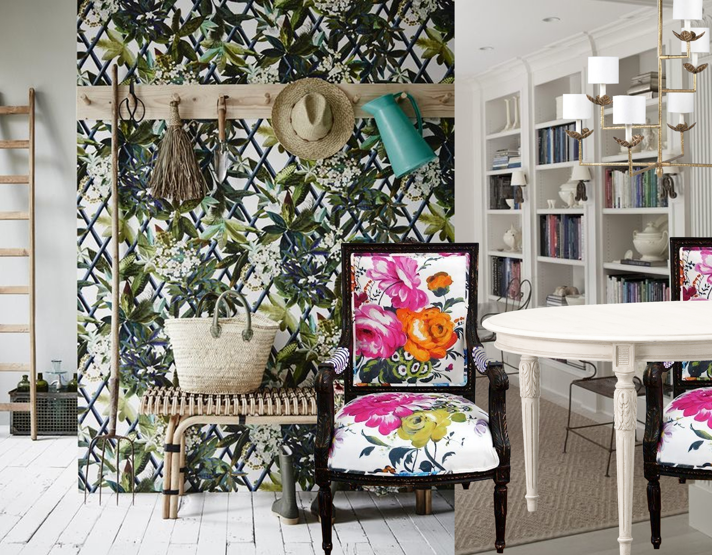 Canopy wallpaper  Christian Lacroix  - armchairs via  Apartment Therapy  - table Velleron  Mis en Demeure  - Colombier chandelier  Vaughan  - image library  Muse Architects