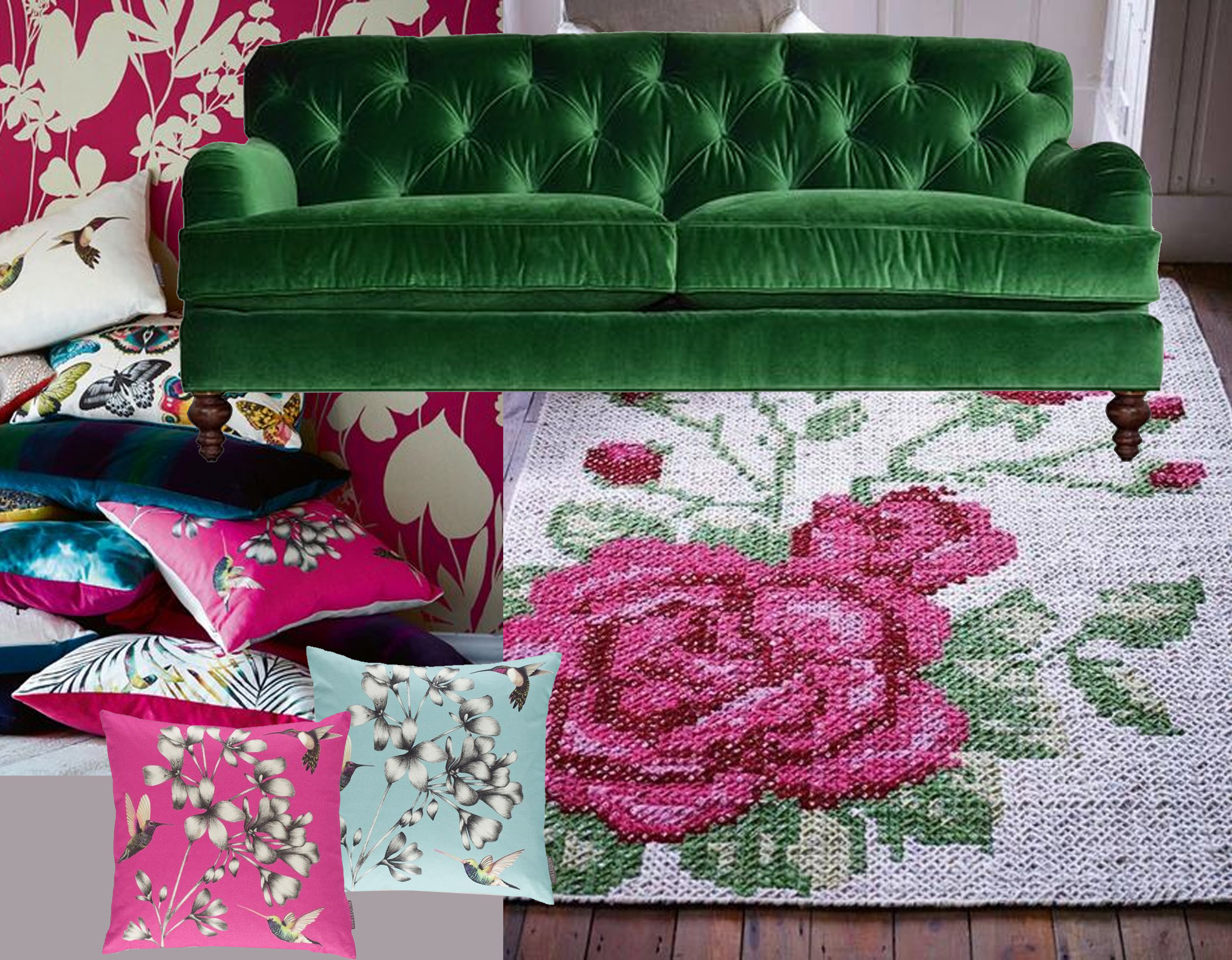 cushions  Harlequin  - Alfie tufted sofa  Roger+Chris  - cross-stitch rug on  Pinterest