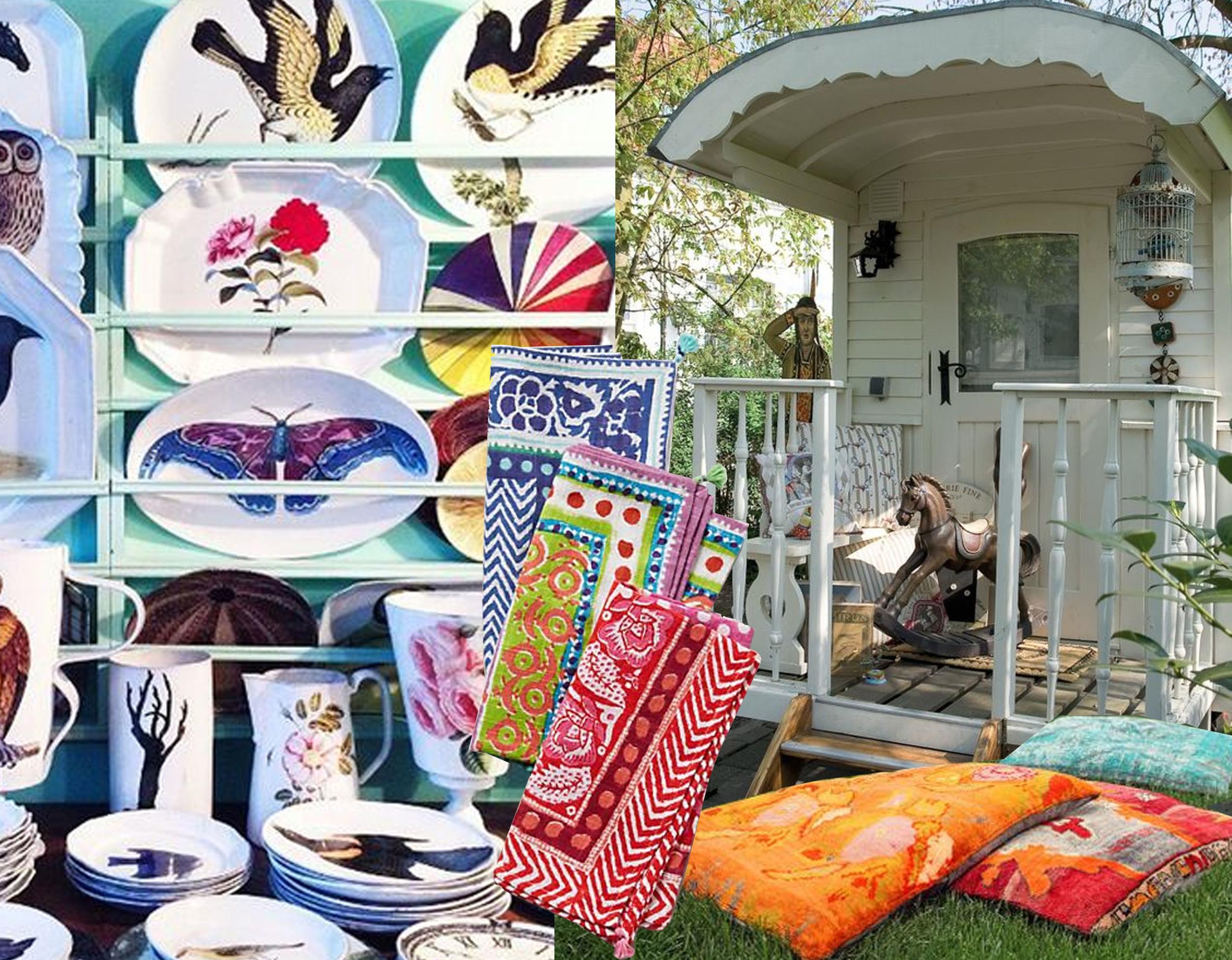 stier de Villate via  DuJour  - Caicos napkin  Antropologie  - Vardo wagon  Beltima  - floor cushion  Istanbul Art Craft