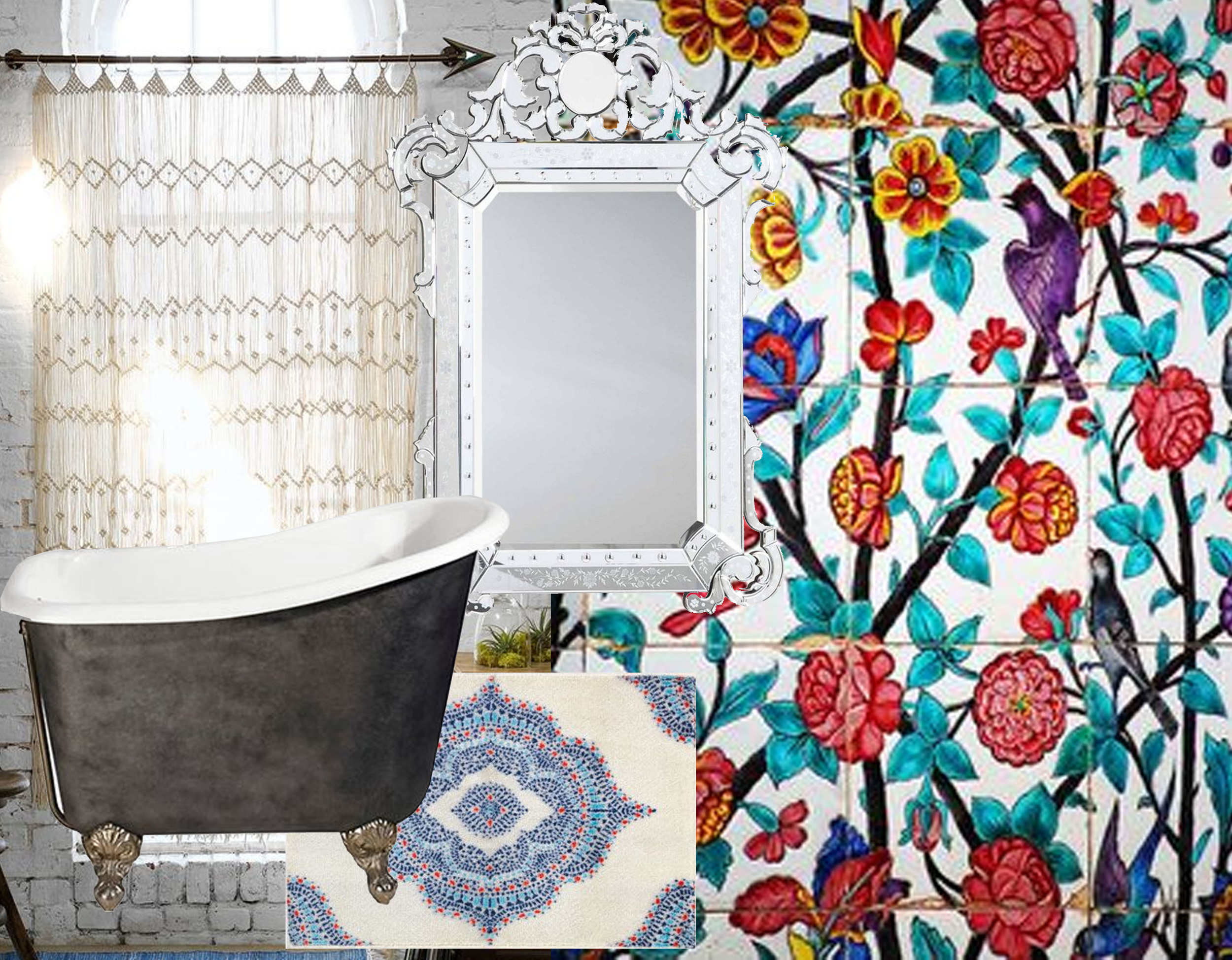 macrame wall hanging via  Pinterest  - bathtub  Albion  - small rug Doftrik  IKEA  - Venetian mirror  One Kings Lane  - hand painted tiles via  Pinterest