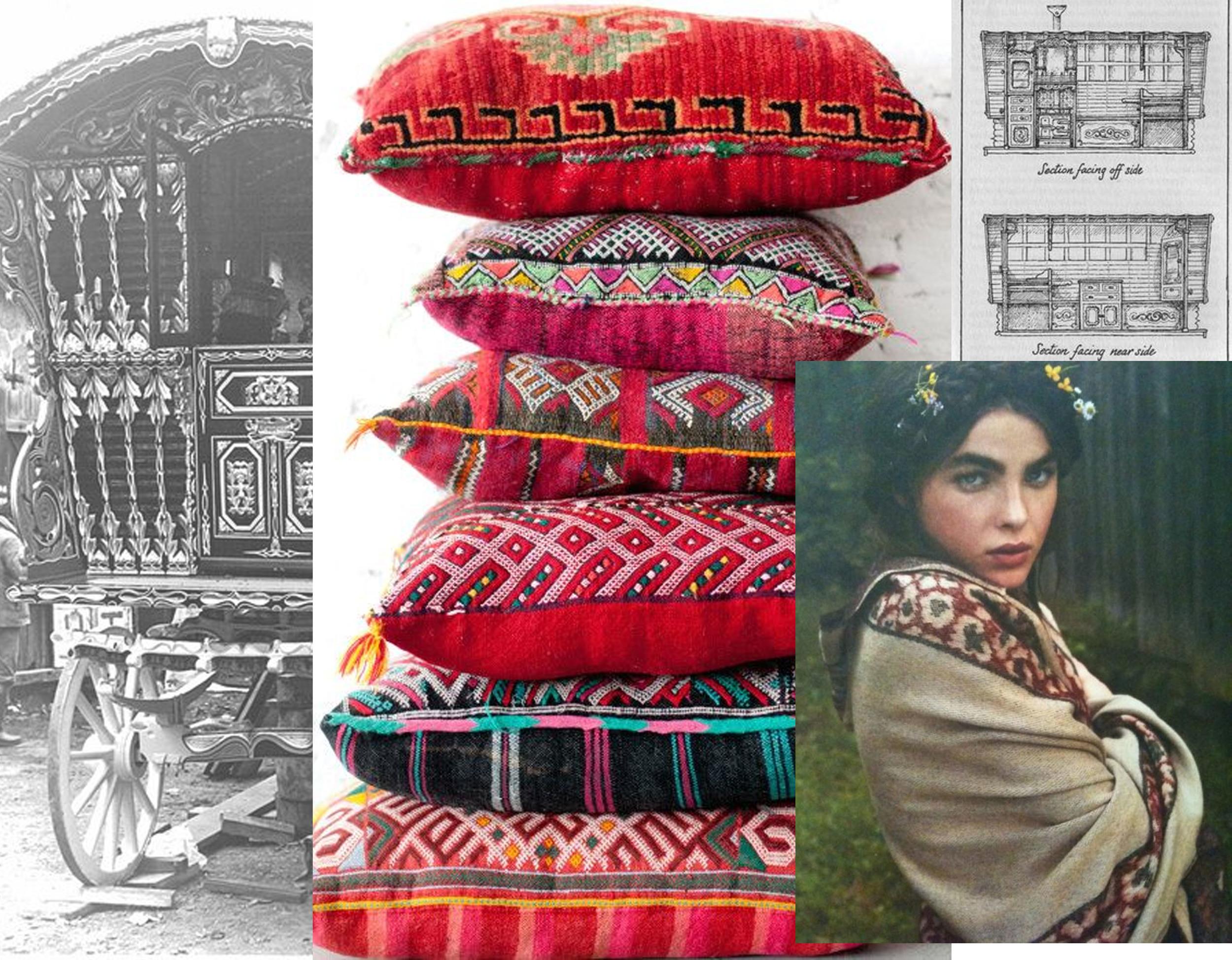Vardo wagon via  Flickr  - Moroccon pillows  Patina Rentals  - Gypsy girl via  Moon 2 Moon