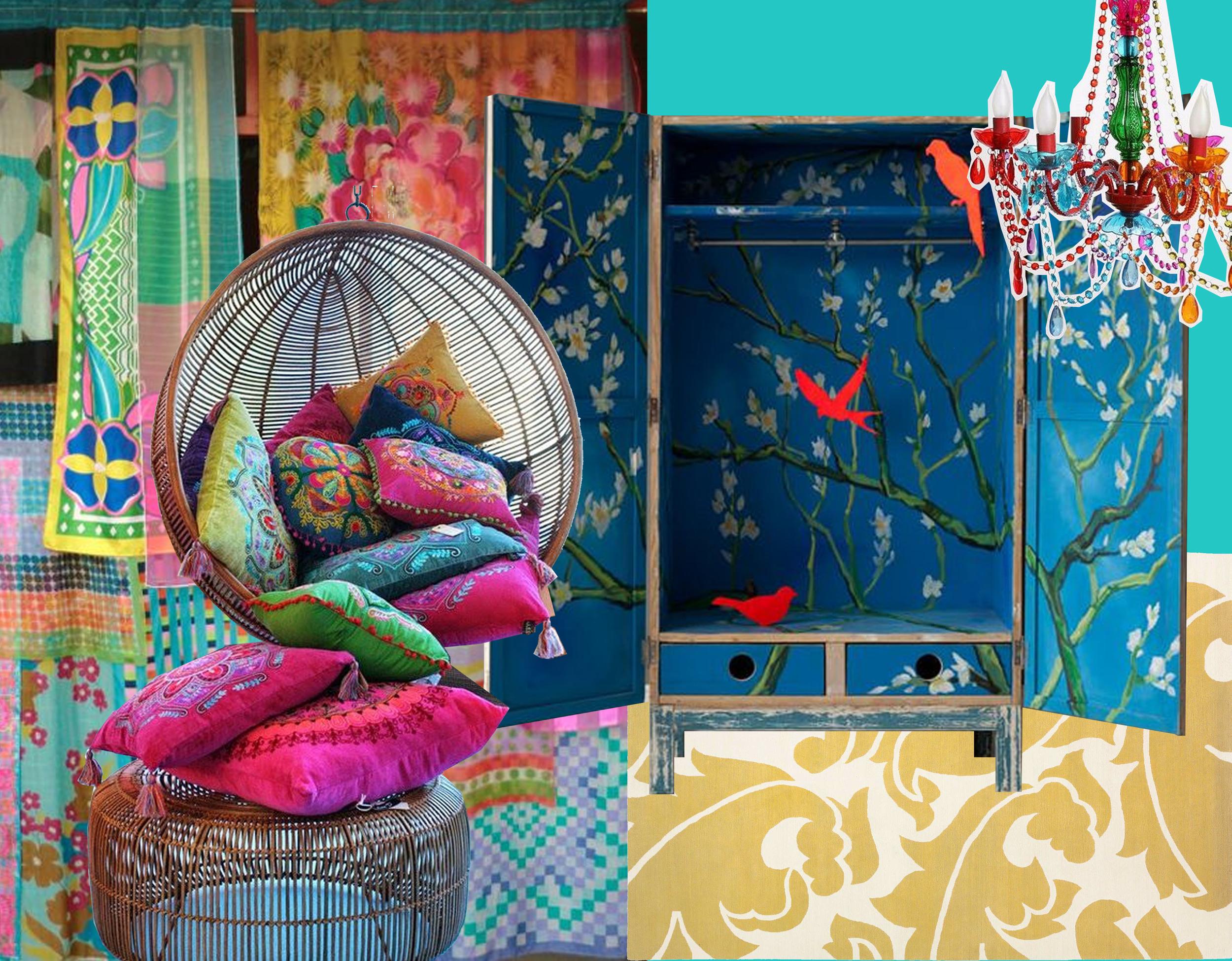 handmade gypsy curtain  Babilon Sisters  - boho chic swing and cushions via  Estiloy Deco  - wardrobe  XO-in my Room  - Overleaf Yello rug  The Rugcompany  - chandelier  Urban Outfitters
