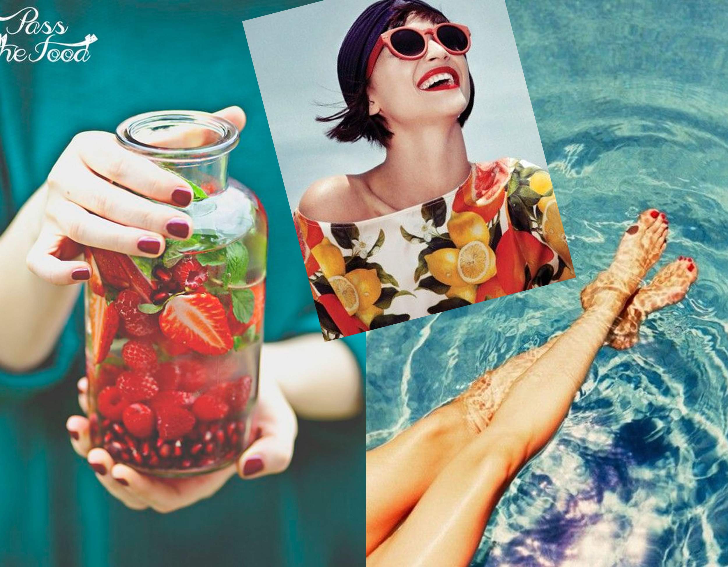 infused water  Pass the Food  - fashion image via  Telegraph  - pool image via  They All Hate Us