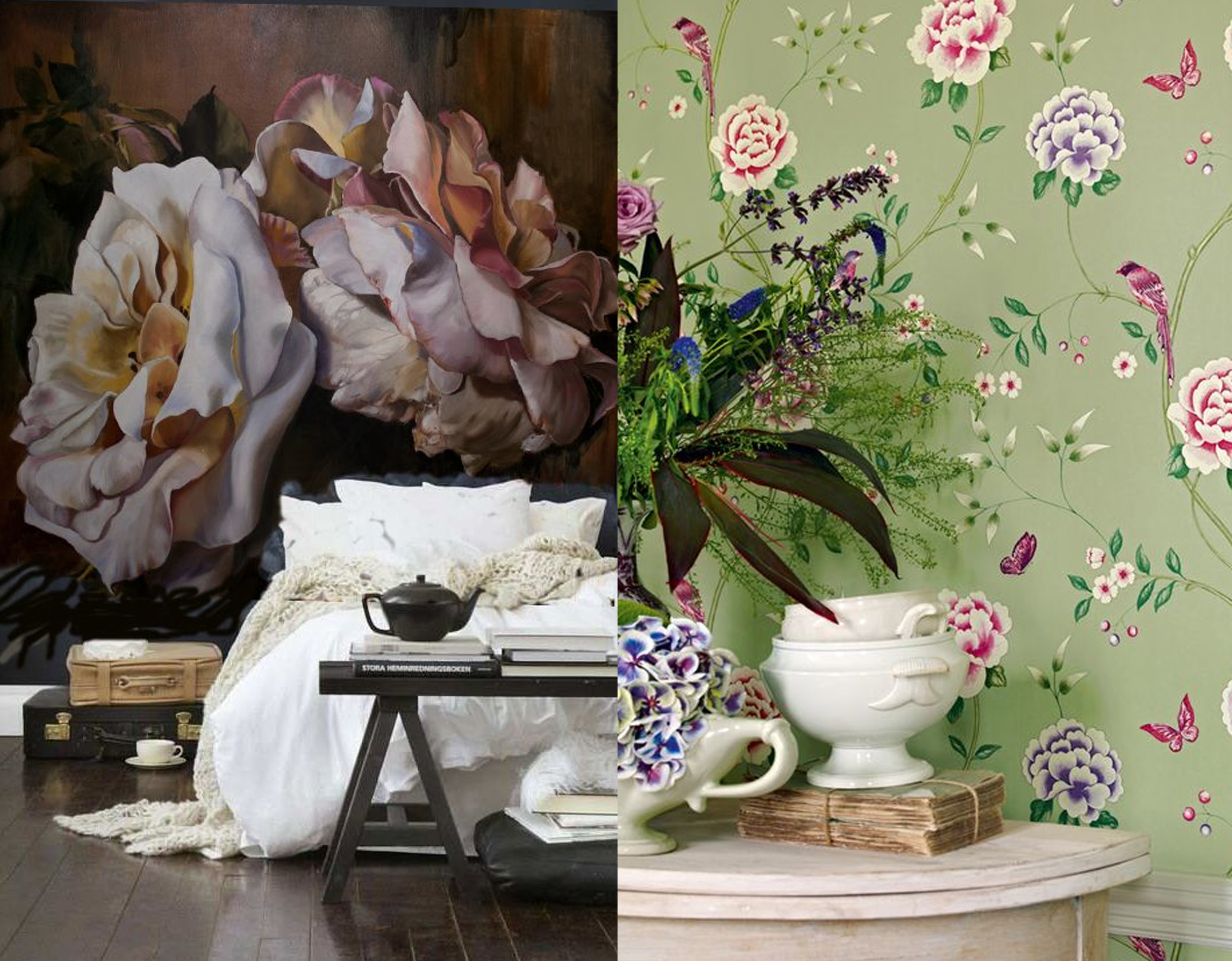 Huge scale digital printing of flowers versus the traditional flower printed wallpaper  Sanderson