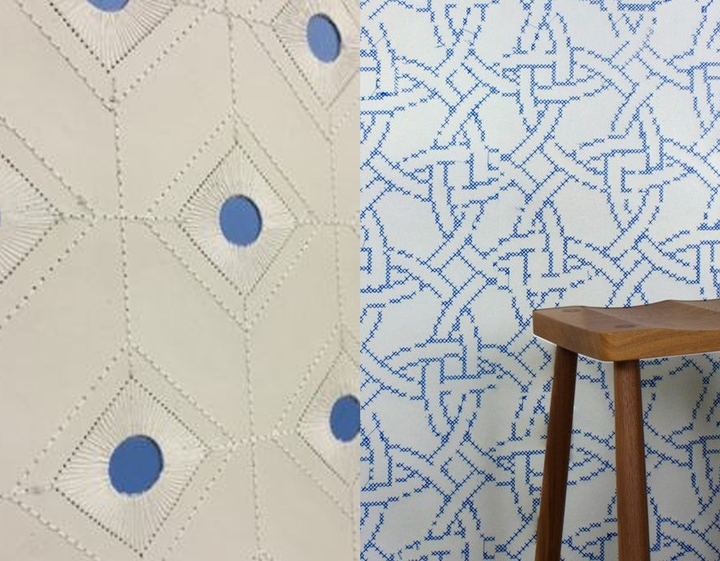 Diamond embroidered wallpaper  and  New Cross embroidered wallpaper  by Custhom