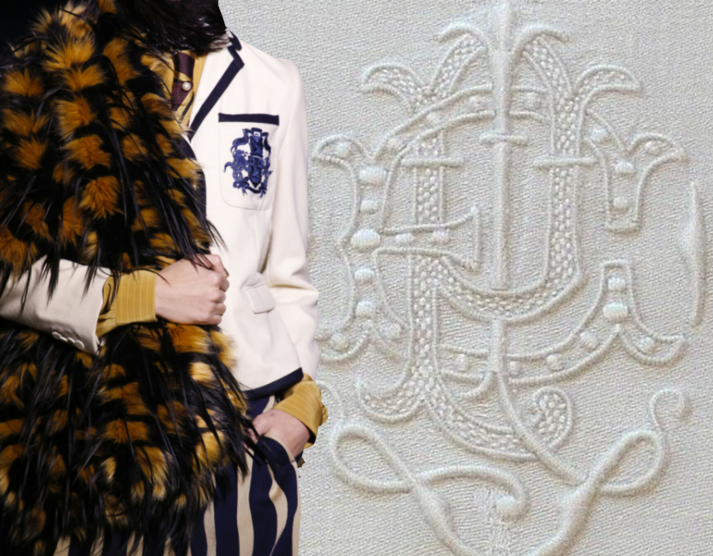 Dries Van Noten  via vogue.com - monogram via  Em's Heart