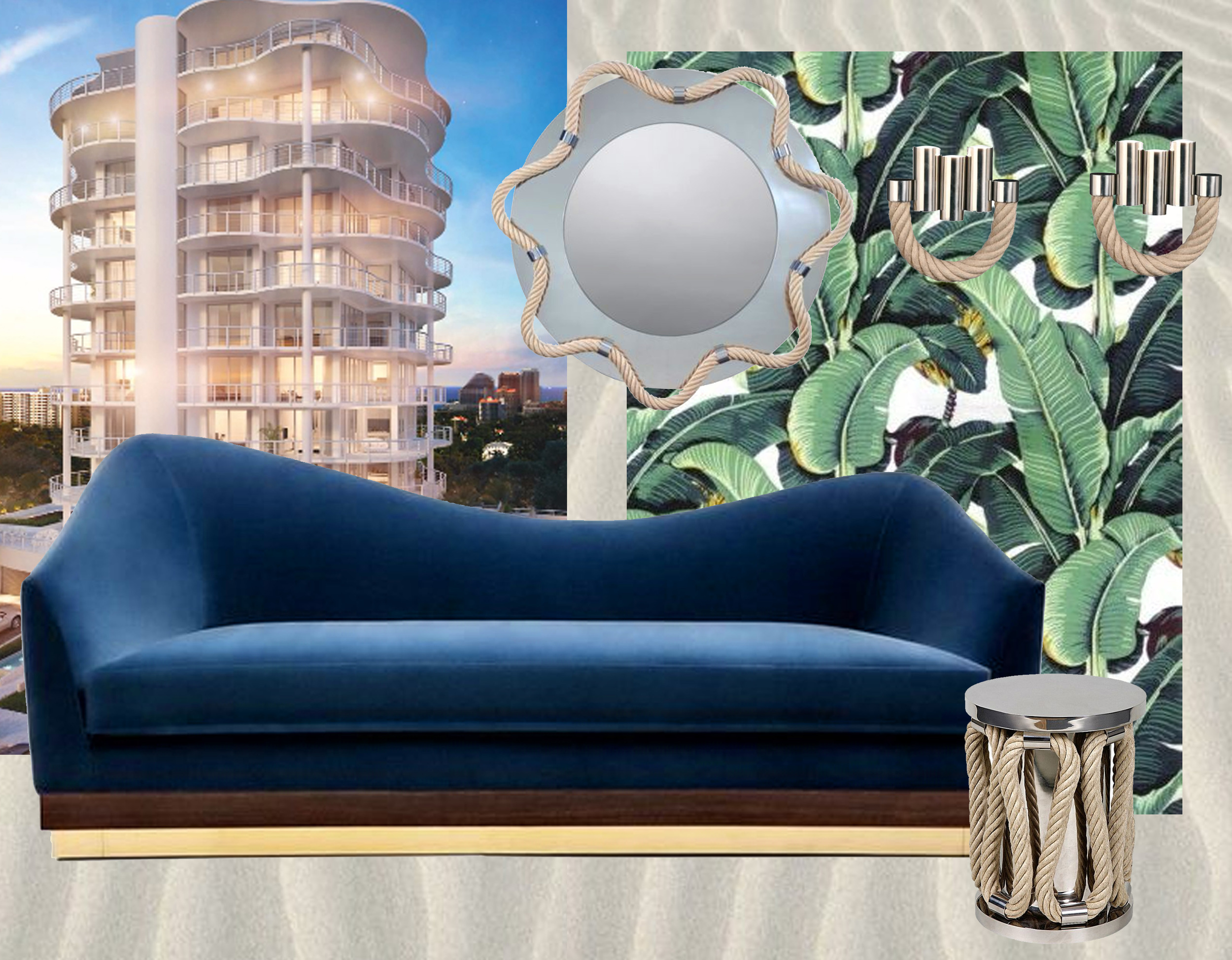 Douglas Elliman Real Estate  -  Martinique Banana Leave wallpaper designed by Don Loper in 1942 for the Beverly Hotel vi  A-Gent of Style  - velvet sofa Hughes  Munna  - mirror, wall lamp, and stool Sailor Thomas Boog for  Pouenat