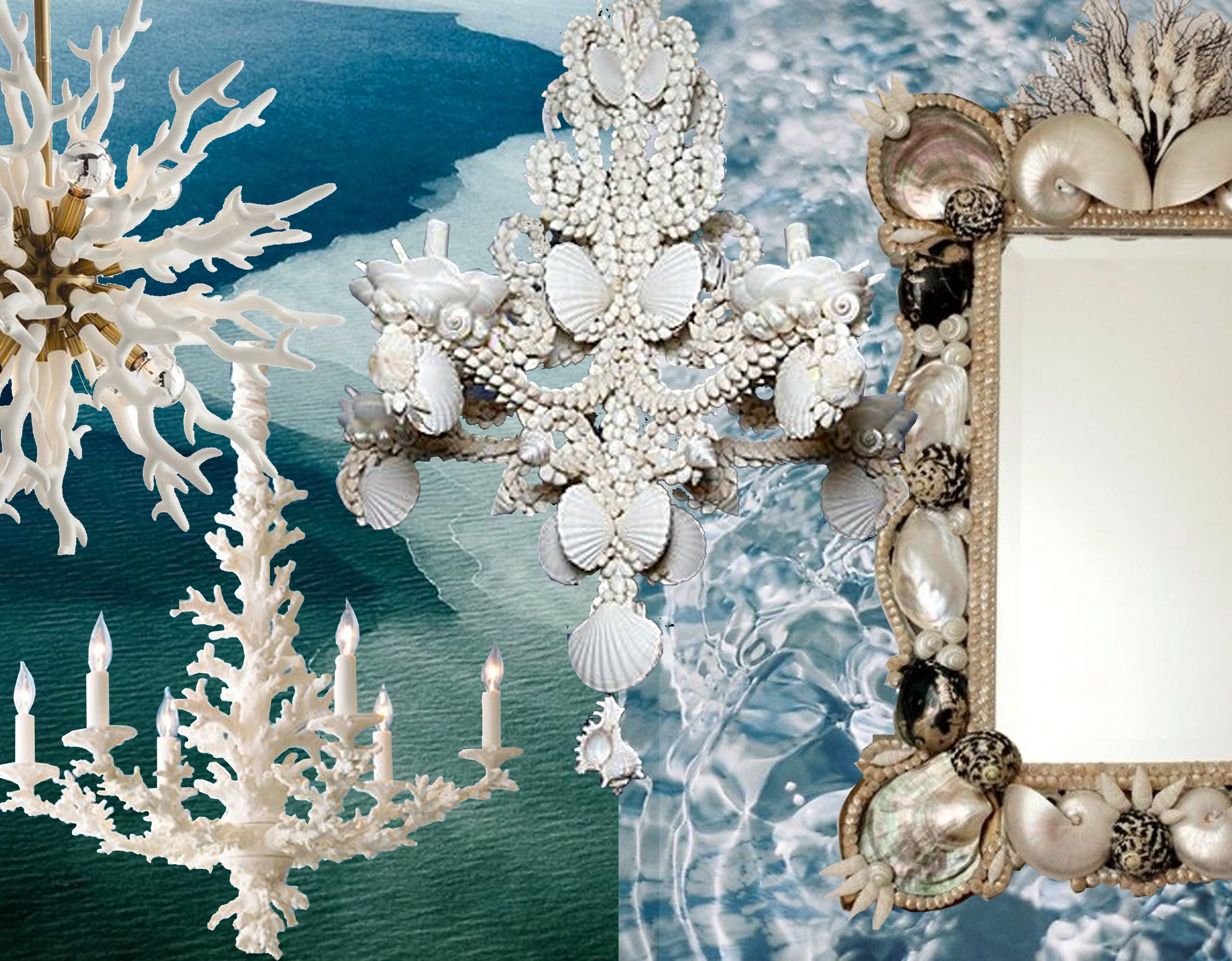 picture sea via  Arrows  -  picture water on  Pinterest  - Diallo chandelier  Arteriors  - coral chandelier  Pinterest  - baroque shell chandelier and mirror via  Digs Digs