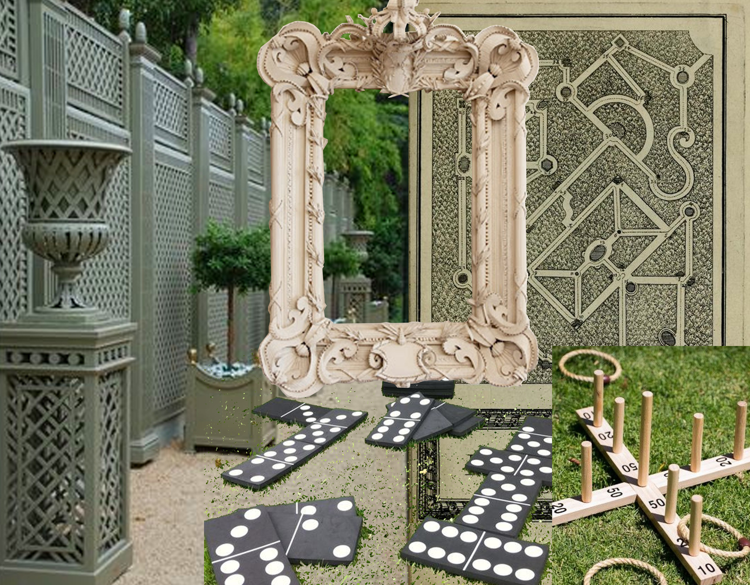 treillage  Accents of France  - wooden game via  The Pretty Blog  - XL domino via  Mariage  - Labyrinth de Versailles  Archive  - cardboard frame Herve Pierre via  Apartment Therapy