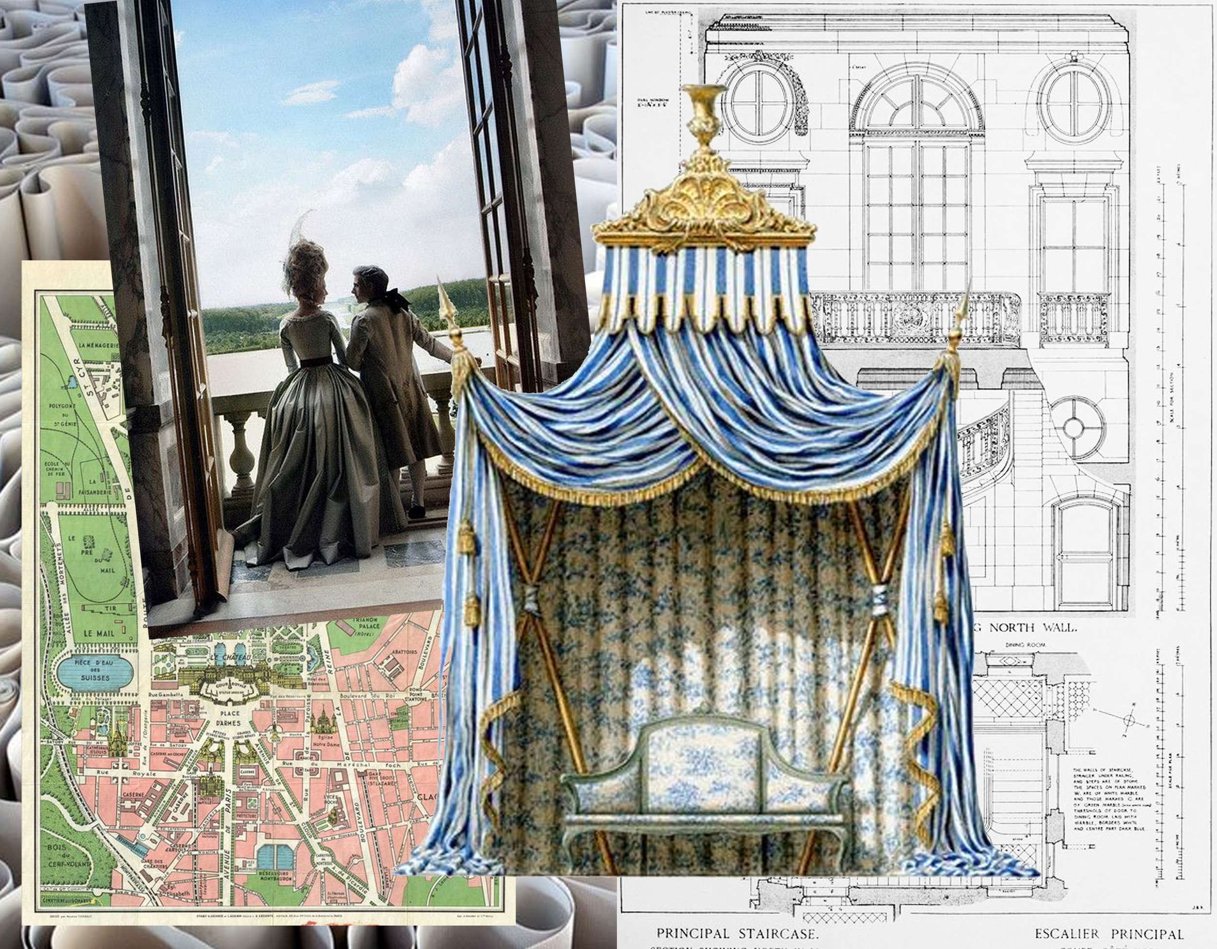 plan gardens Versailles via  Pinterest  - still from movie Marie Antoinette - facade Petit Trianon via  Archi/Maps  - garden tent  Rococo Revisited