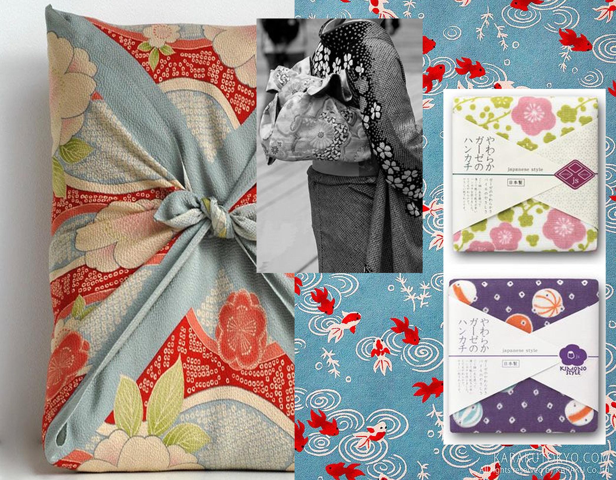 Japanese textile wrapping via  Tokyo Pic  - Japanese style packaging via  MYA  - printed paper via  Flickr  - kimono via  Kikikimono