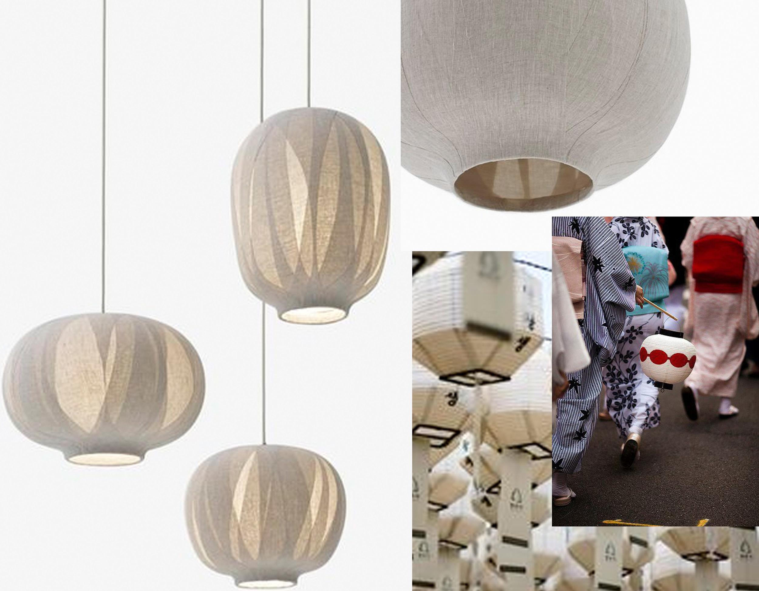 Nuno lamp  Nendo  - kimono image and paper lamp via  Pinterest