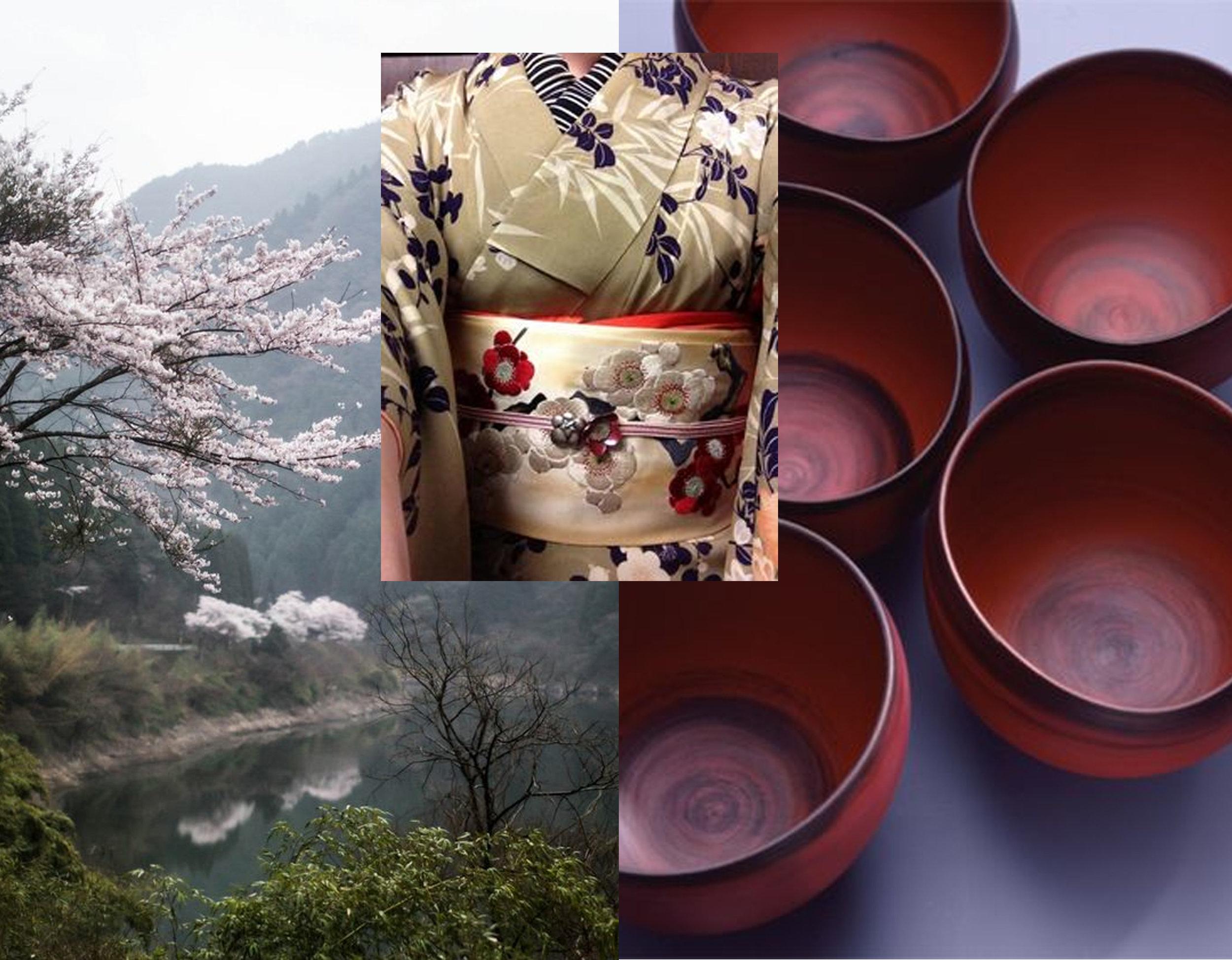 Japanese landscape via  Local Milk  - kimono via  Litwinenko  - red bowls via  Pinterest