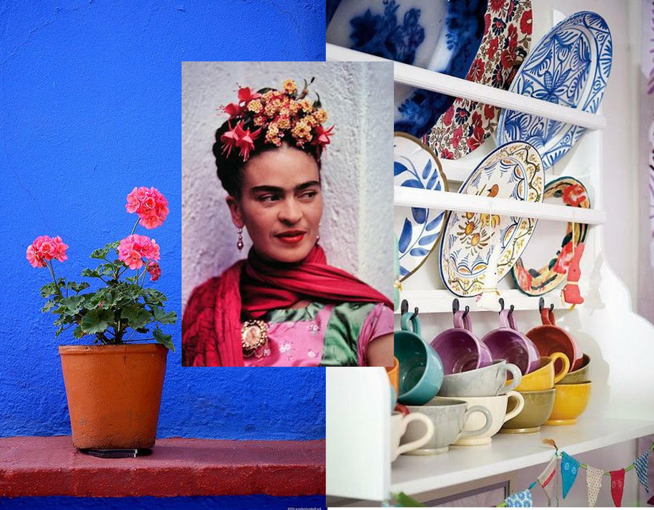 Casa Azul via  Flickr  - image Frida Kahlo via  Just Khadija  - image plates via  So Darling